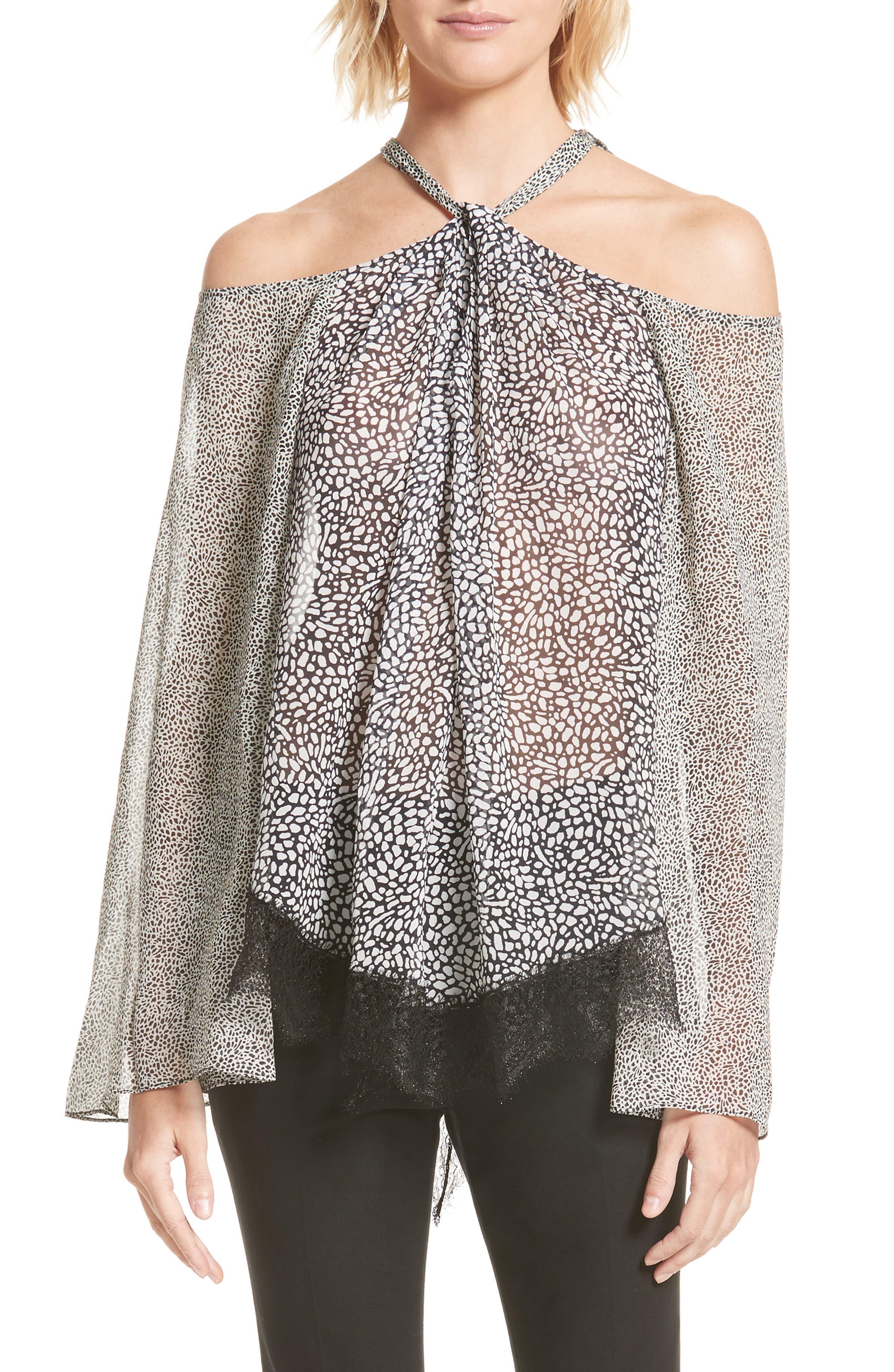 Lace Hem Cold Shoulder Halter Blouse,                         Main,                         color, Black