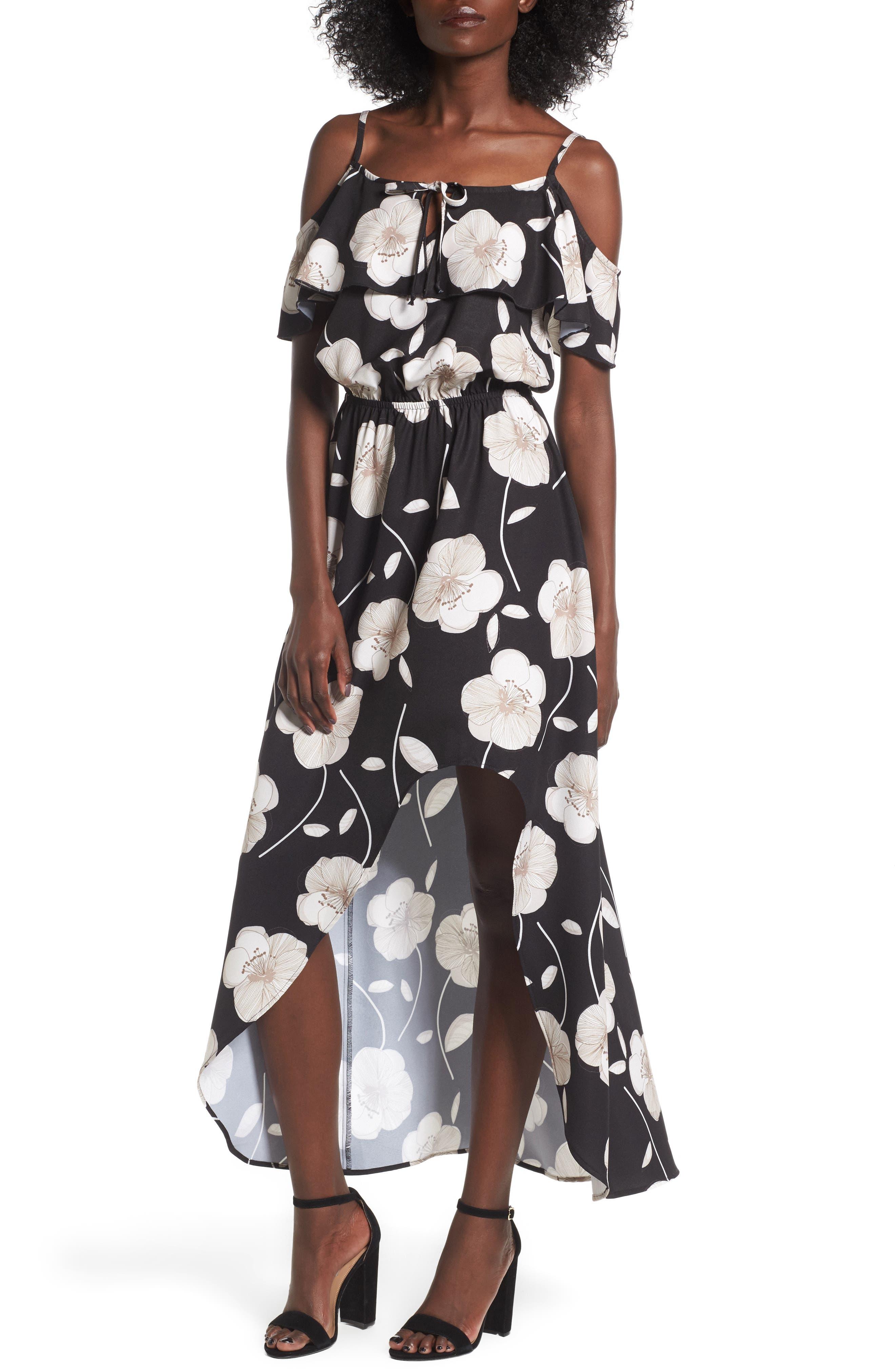 Cold Shoulder Asymmetrical Maxi Dress,                             Main thumbnail 1, color,                             Black