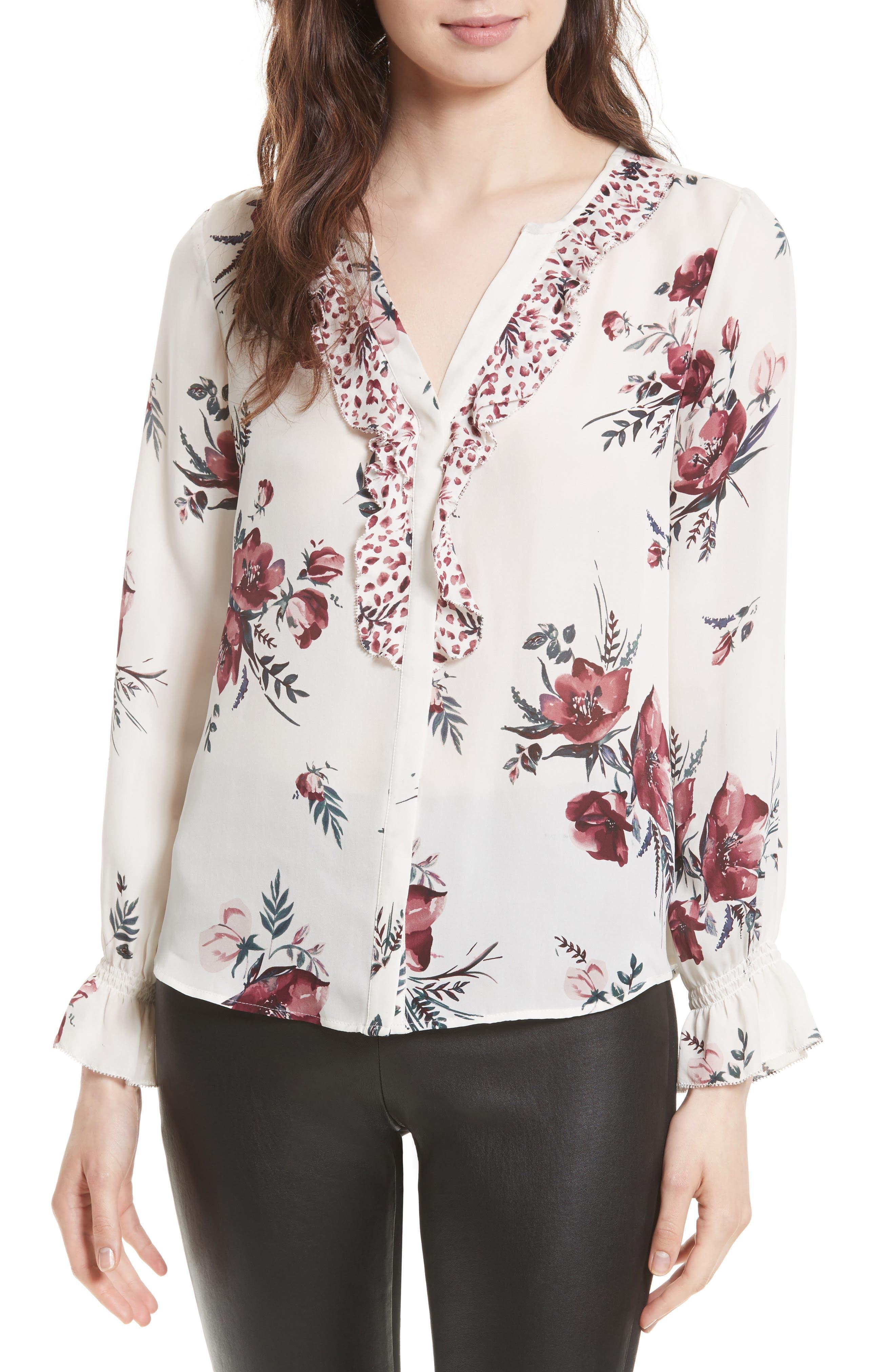 Main Image - Joie Jayann B Ruffle Front Floral Silk Blouse