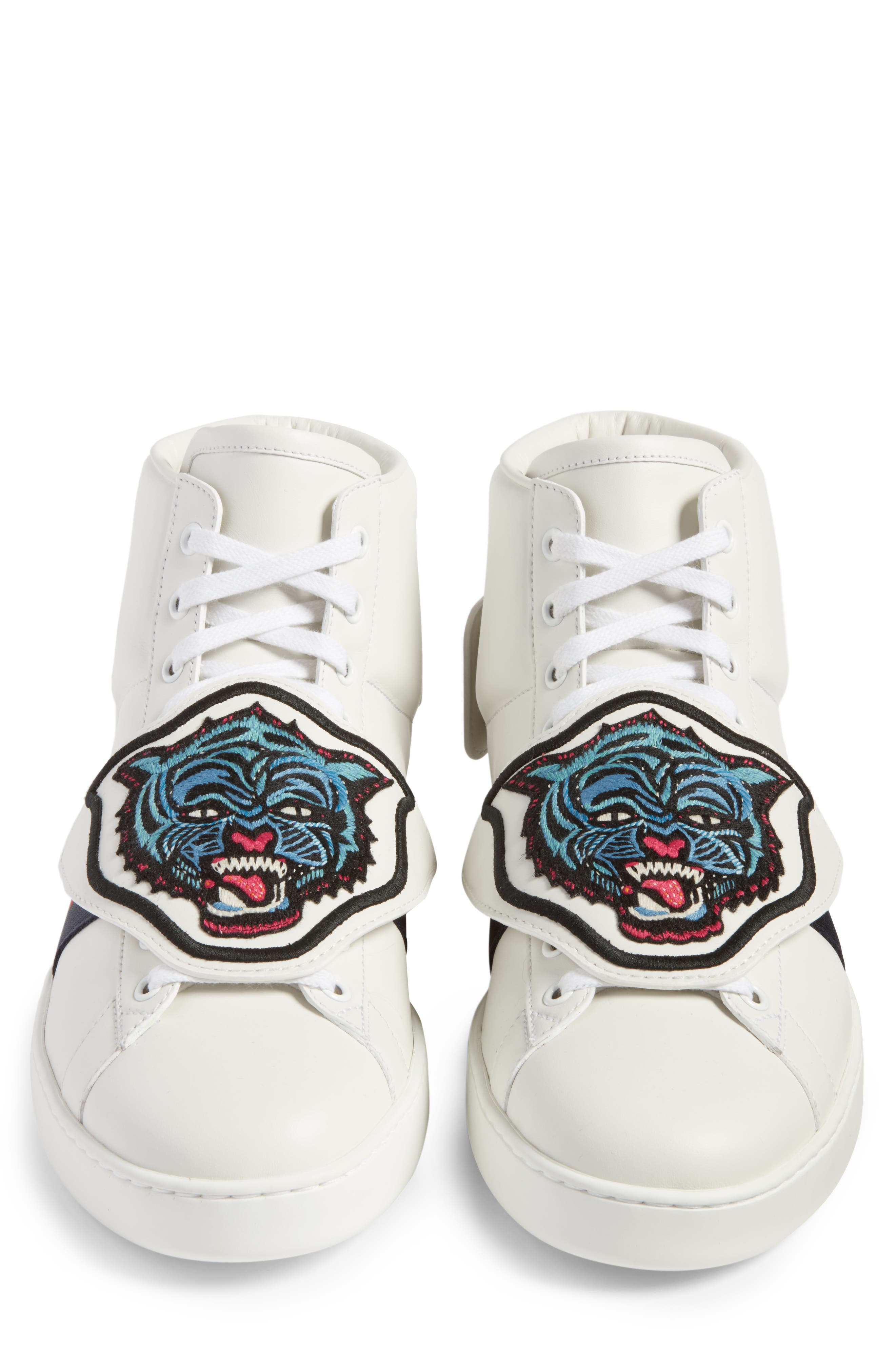New Ace Jaguar Embroidered Patch High Top Sneaker,                             Alternate thumbnail 4, color,                             Bianco