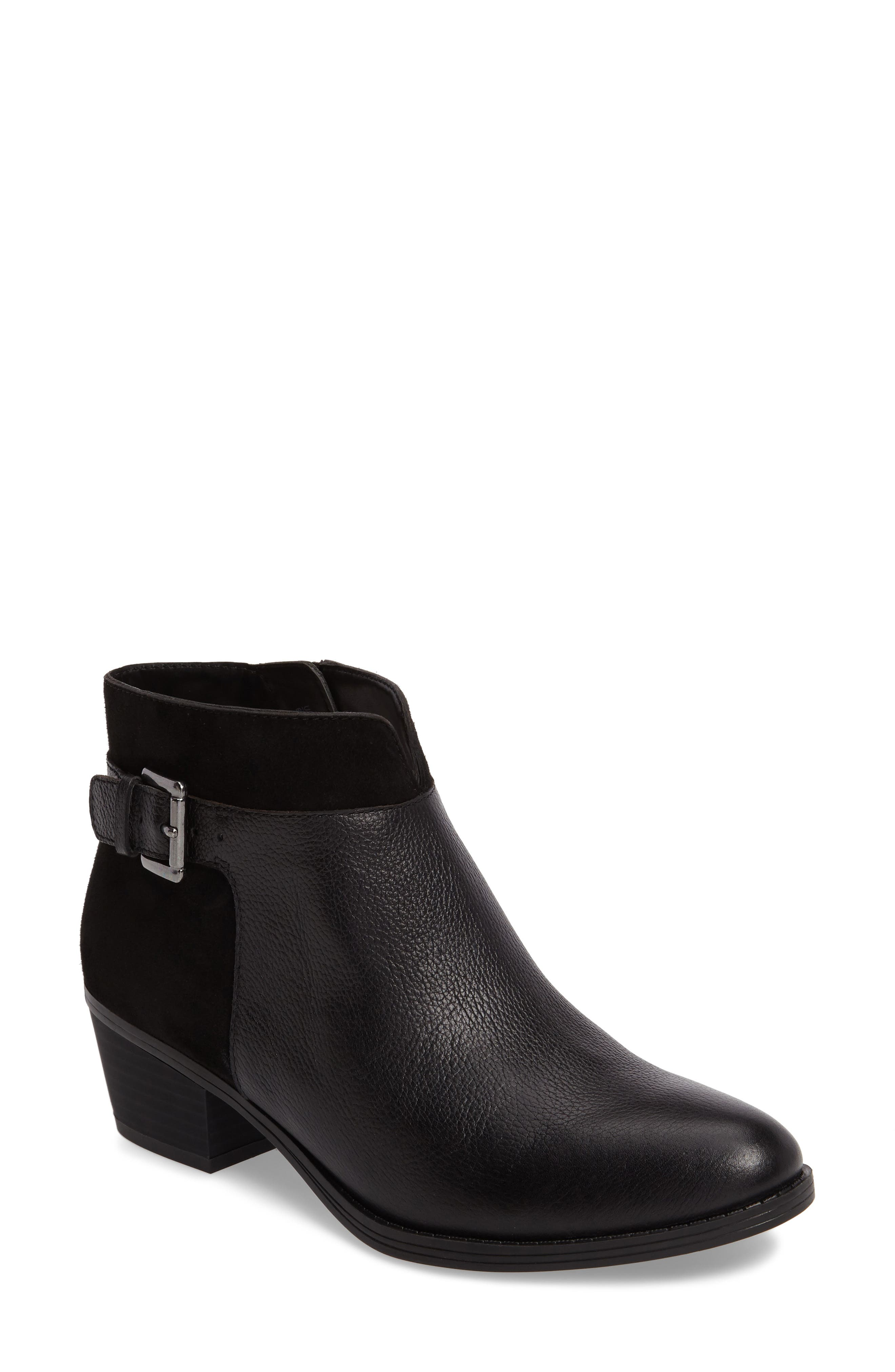Wanya Buckle Bootie,                         Main,                         color, Black Leather