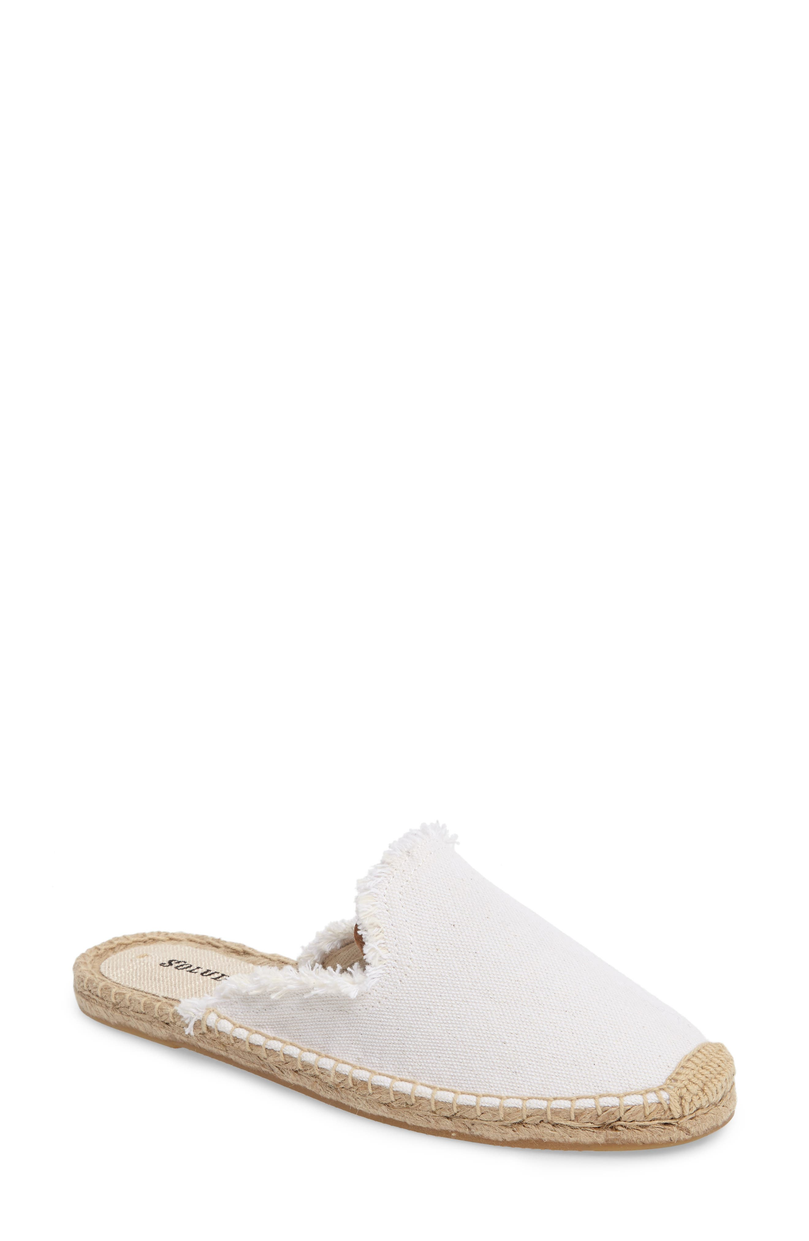 Frayed Loafer Mule,                             Main thumbnail 1, color,                             White Canvas
