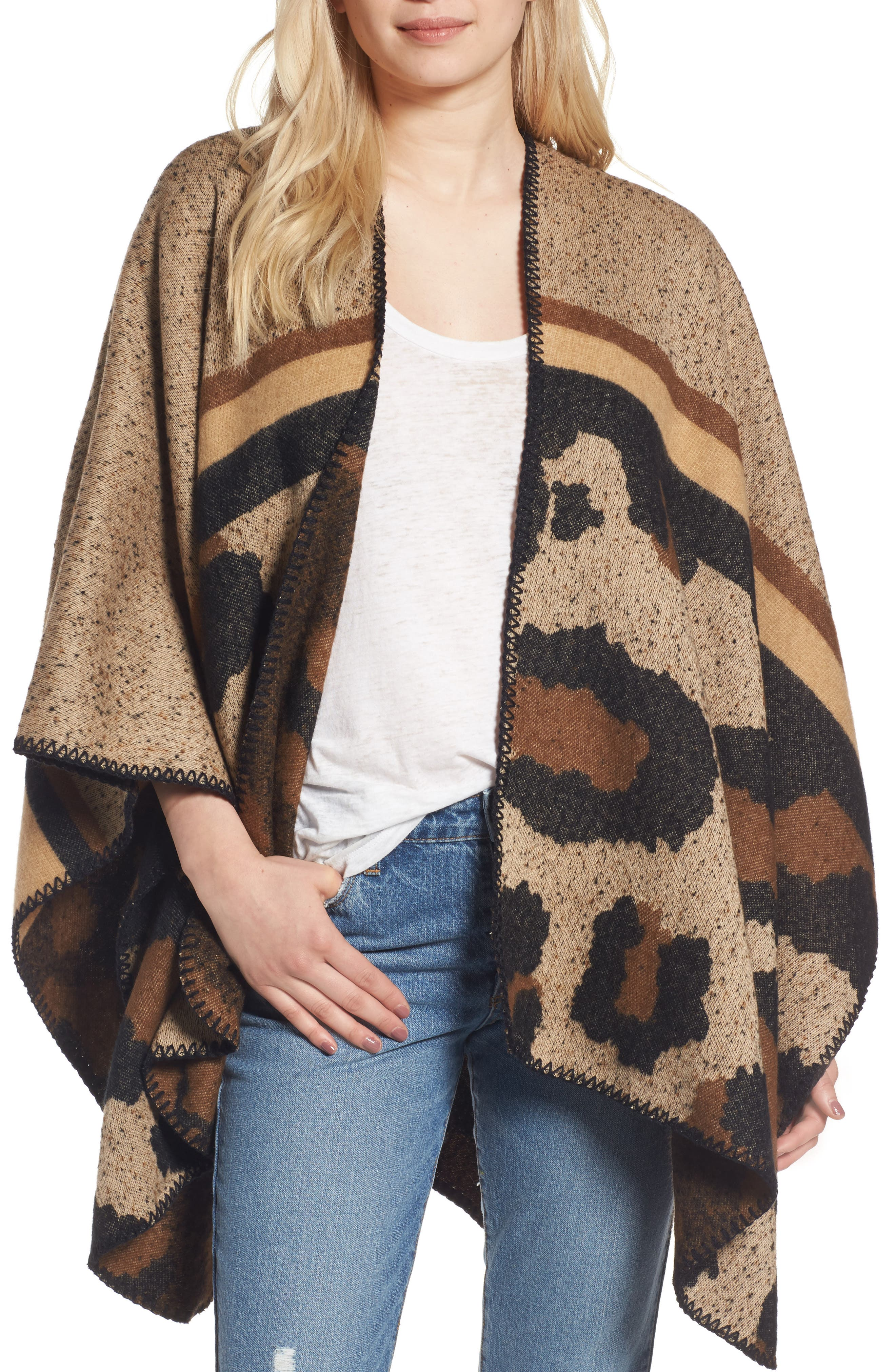 BP Leopard Print Ruana,                             Main thumbnail 1, color,                             Brown Multi