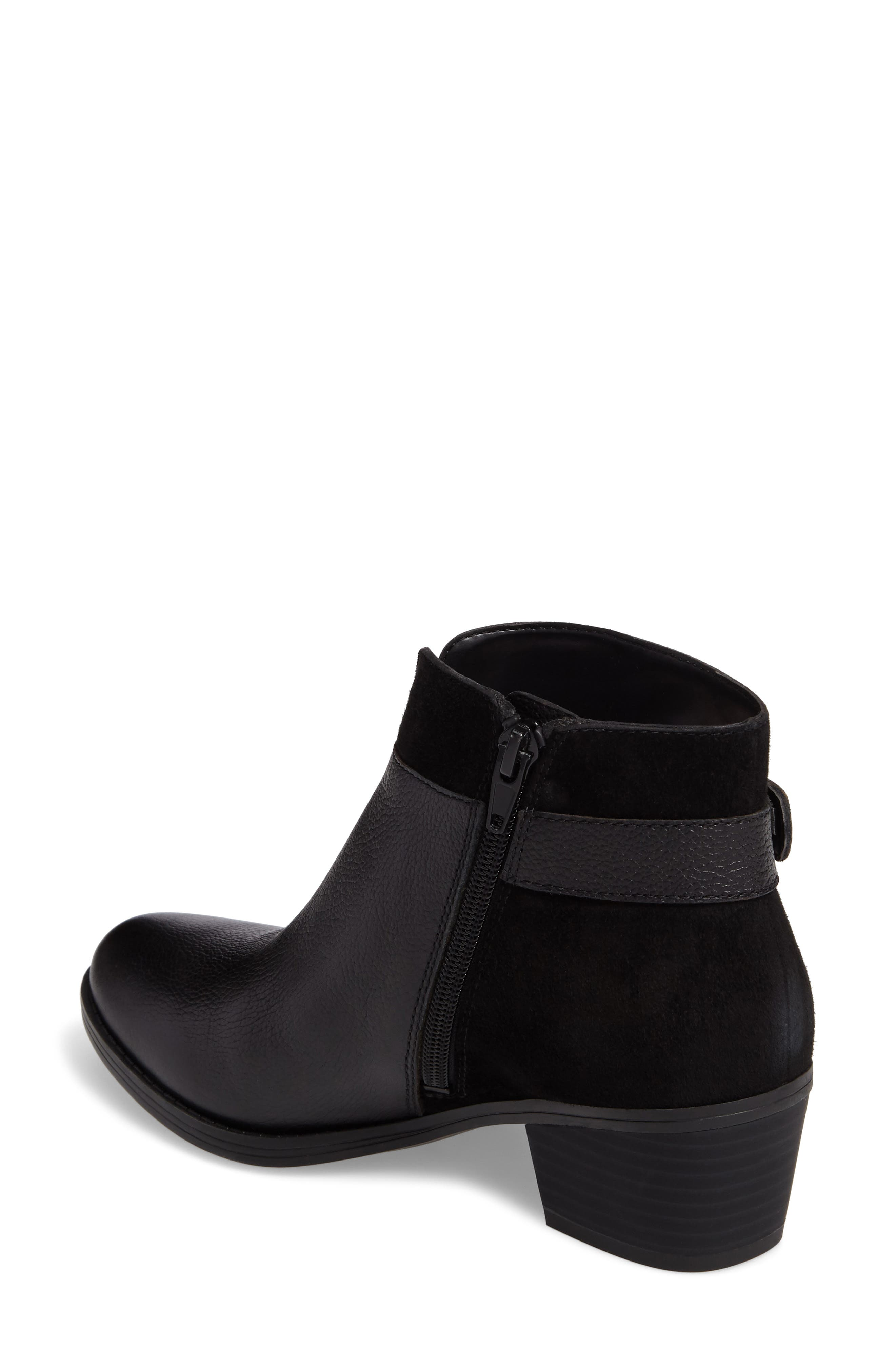 Wanya Buckle Bootie,                             Alternate thumbnail 2, color,                             Black Leather