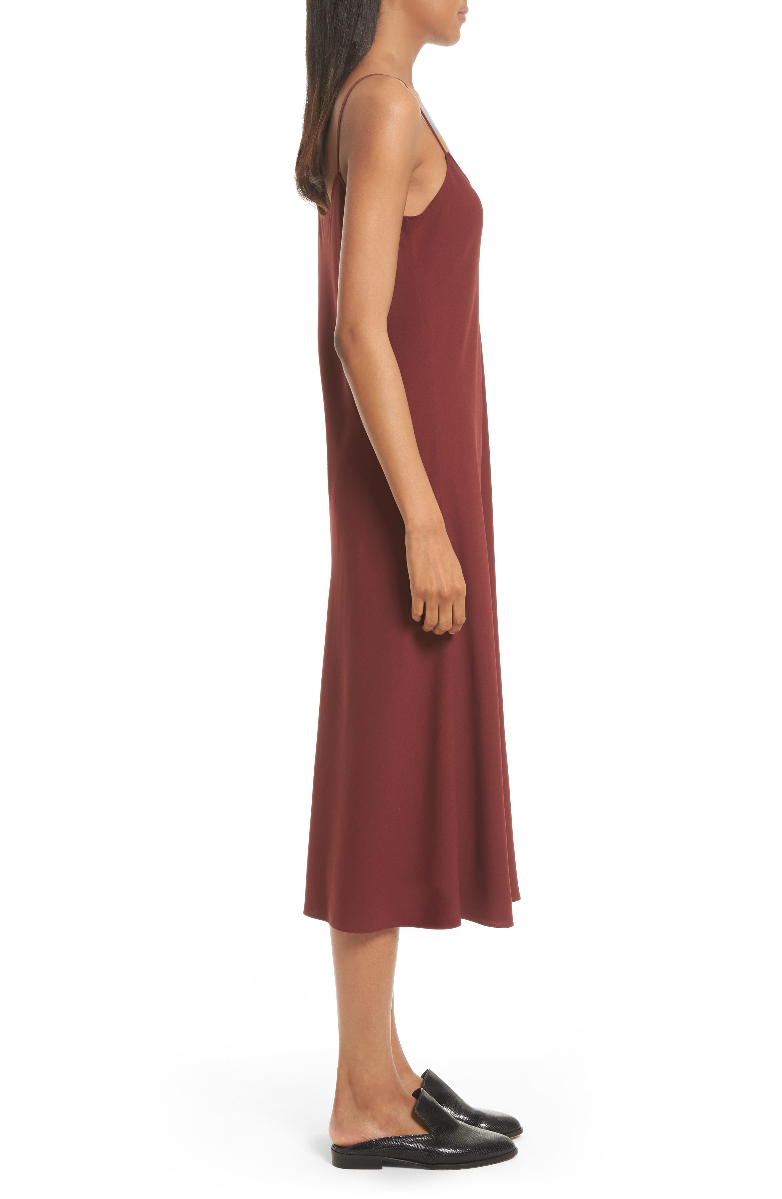 Telson Rosina Crepe Slipdress,                             Alternate thumbnail 4, color,                             Chili Red