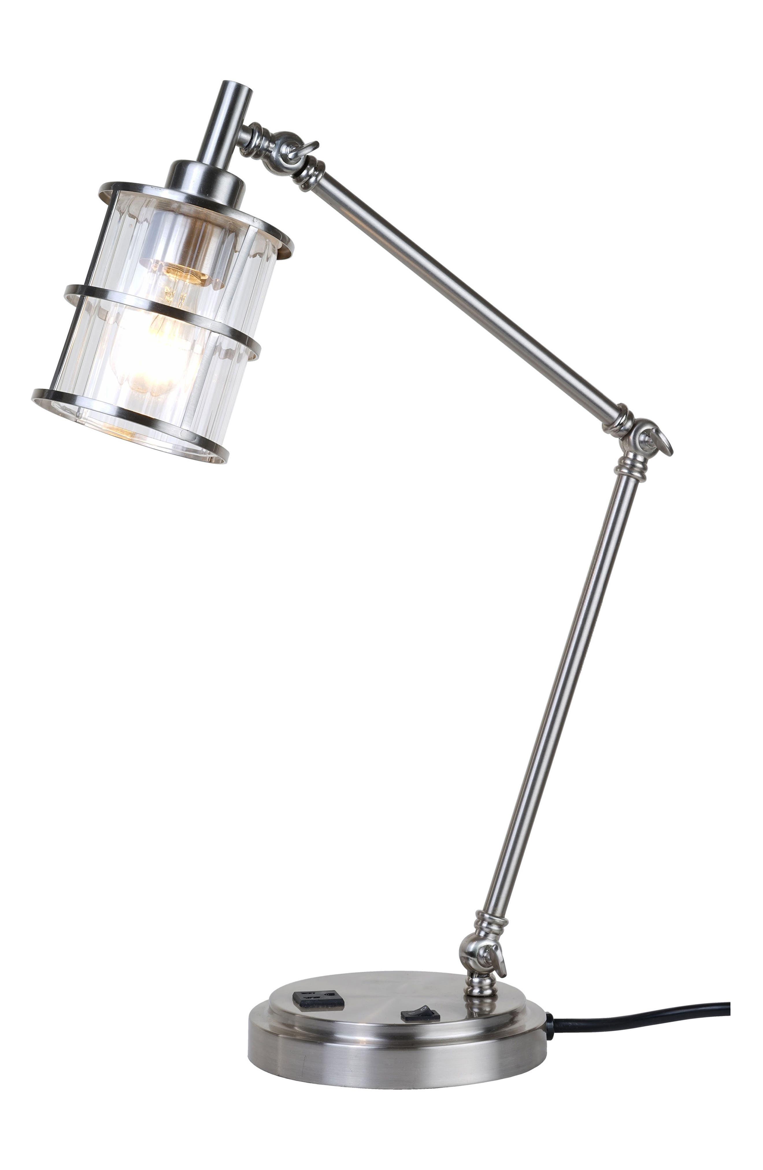 JAlexander Ribbed Glass Desk Lamp,                             Main thumbnail 1, color,                             Metallic Silver