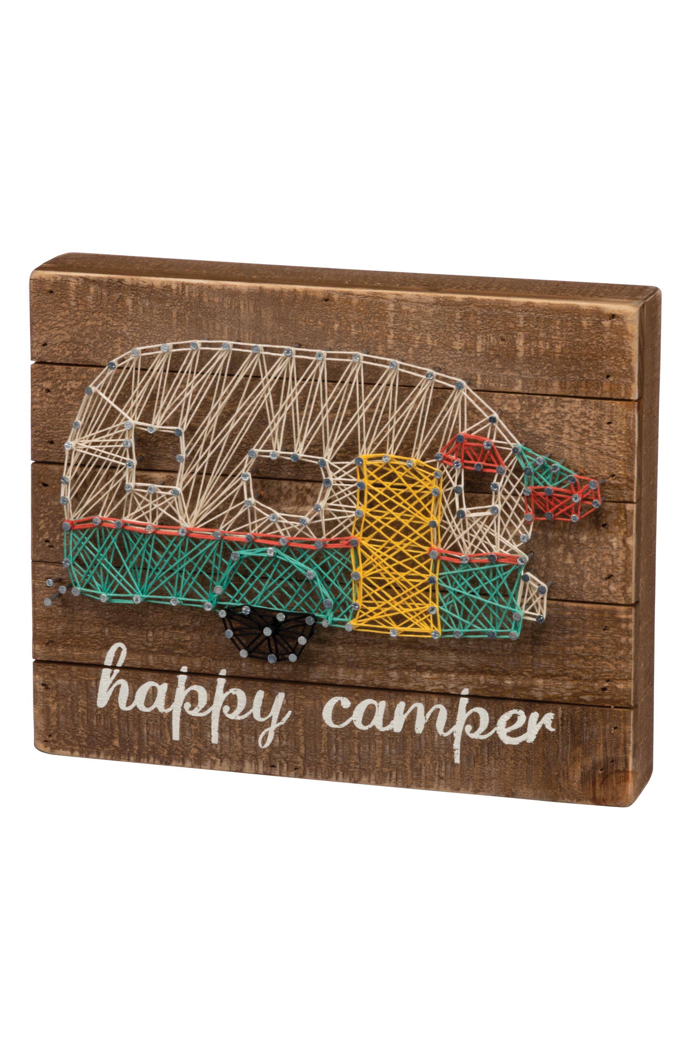 Happy Camper String Art Box Sign,                         Main,                         color, Brown