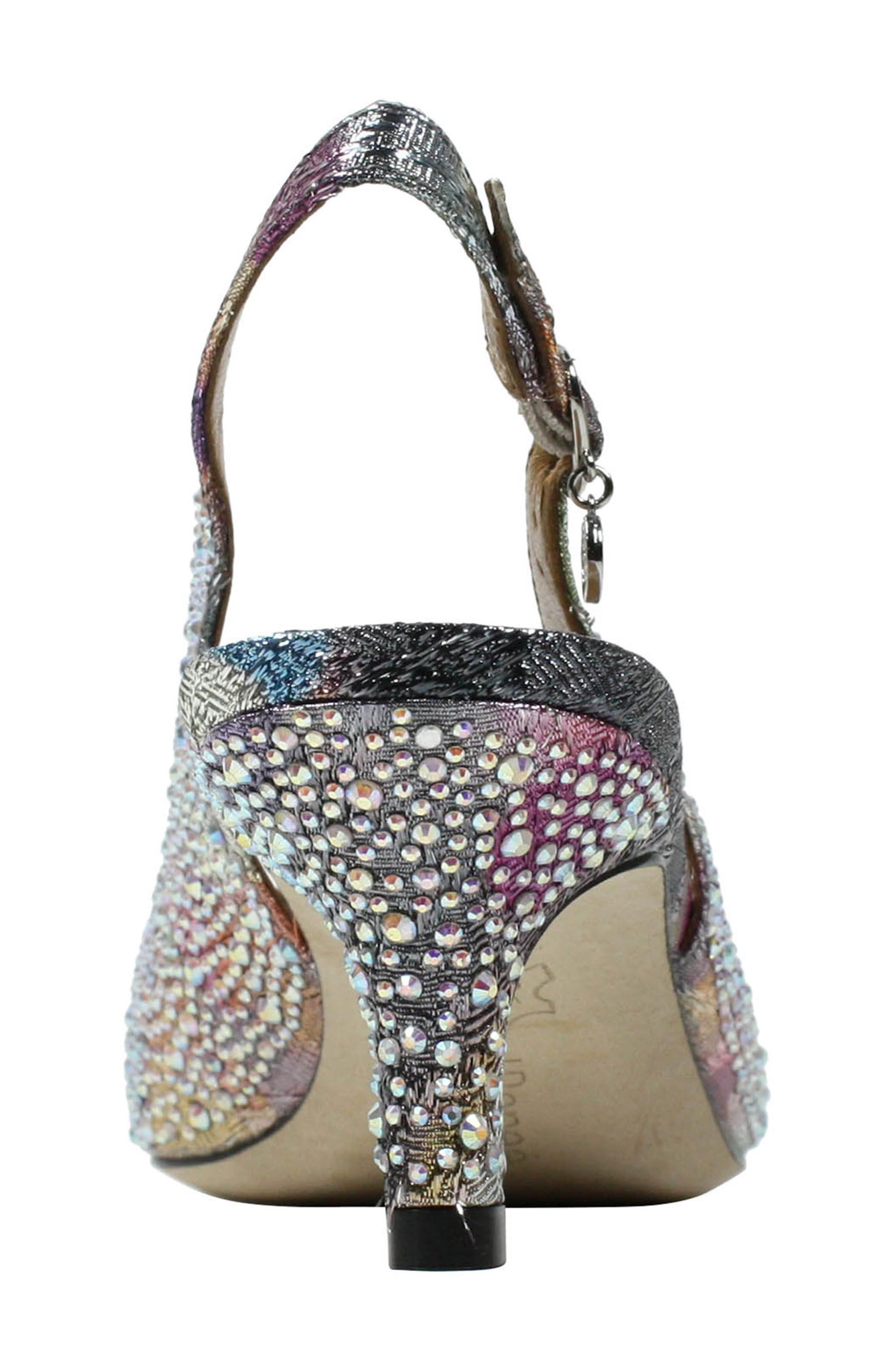 'Impuls' Crystal Embellished Slingback Pump,                             Alternate thumbnail 4, color,                             Silver/ Pastel Fabric