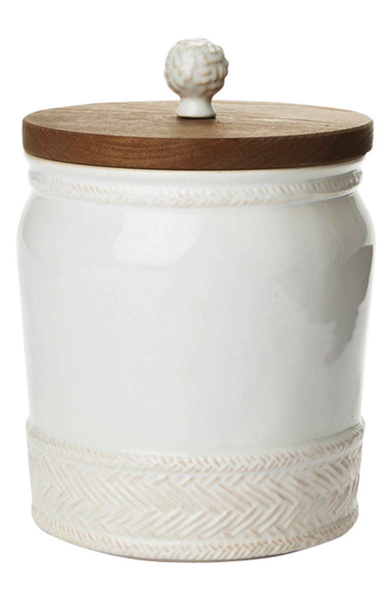 Le Panier Ceramic Canister,                             Main thumbnail 1, color,                             Whitewash