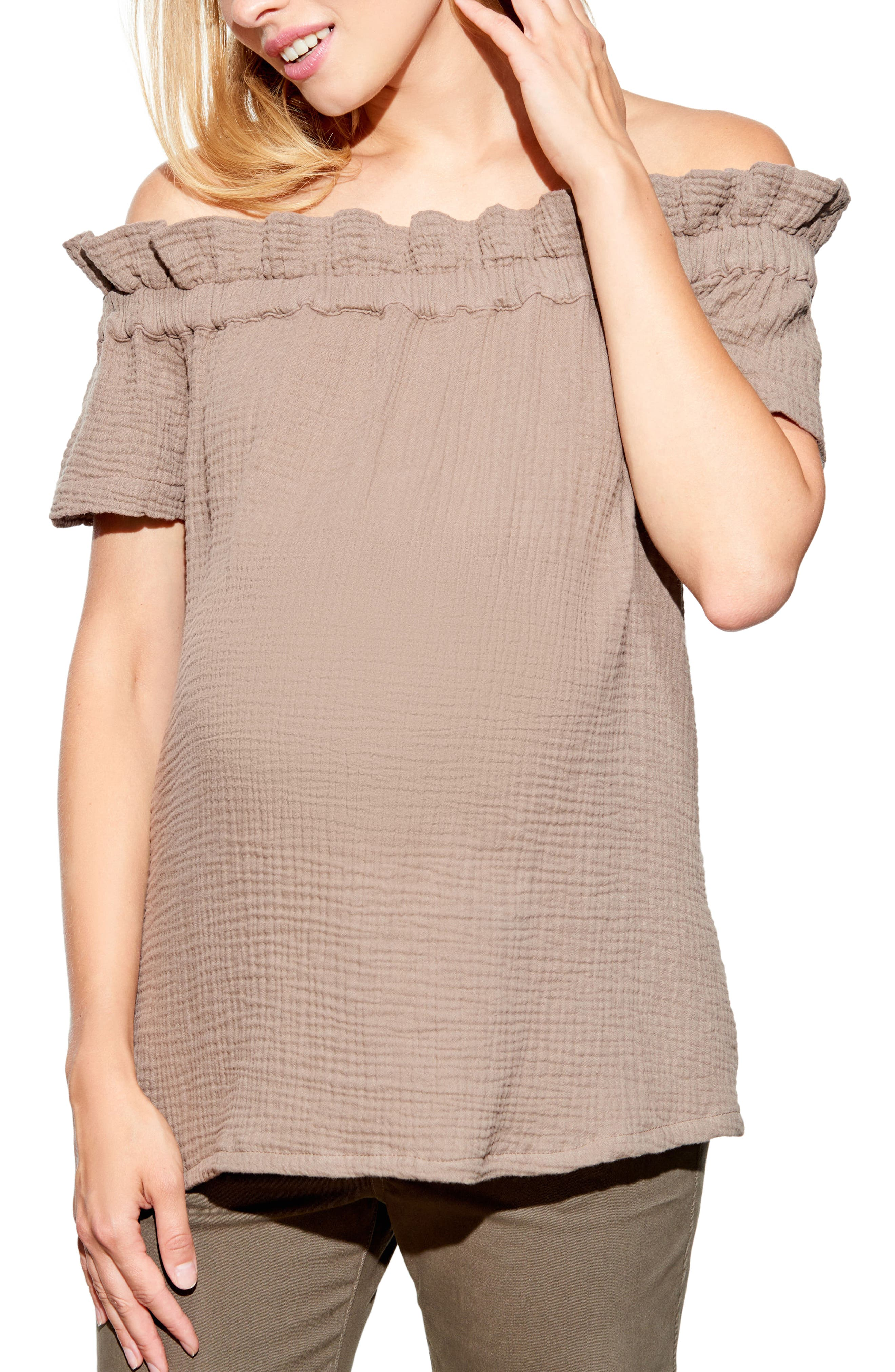 Off the Shoulder Maternity Top,                             Main thumbnail 1, color,                             Taupe