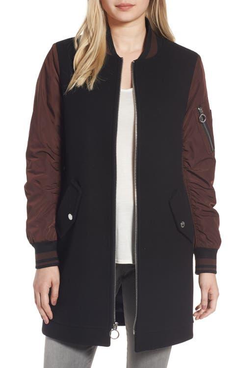 Main Image - BCBGeneration Long Varsity Jacket
