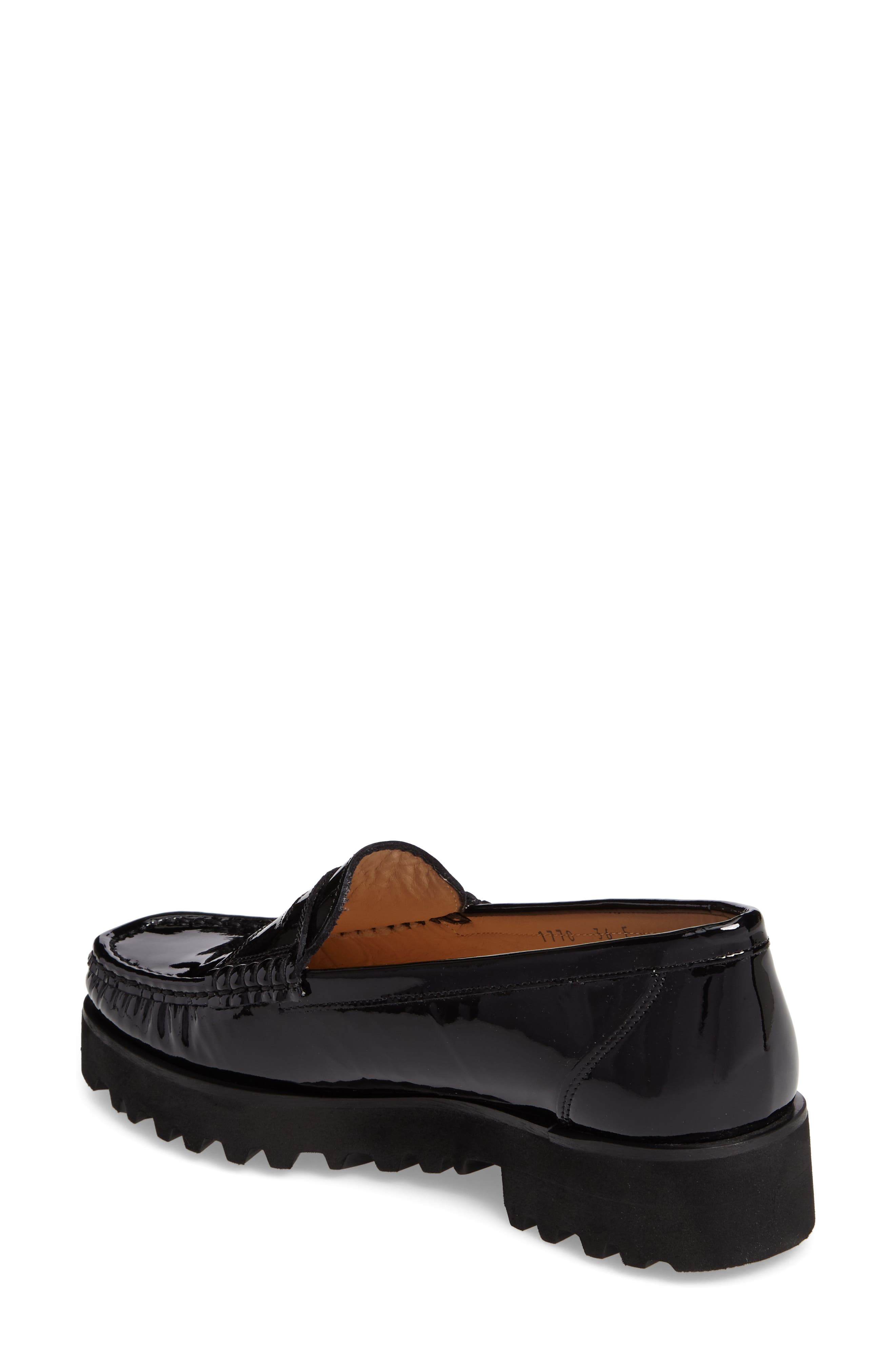 Rita Platform Penny Loafer,                             Alternate thumbnail 2, color,                             Onyx Patent