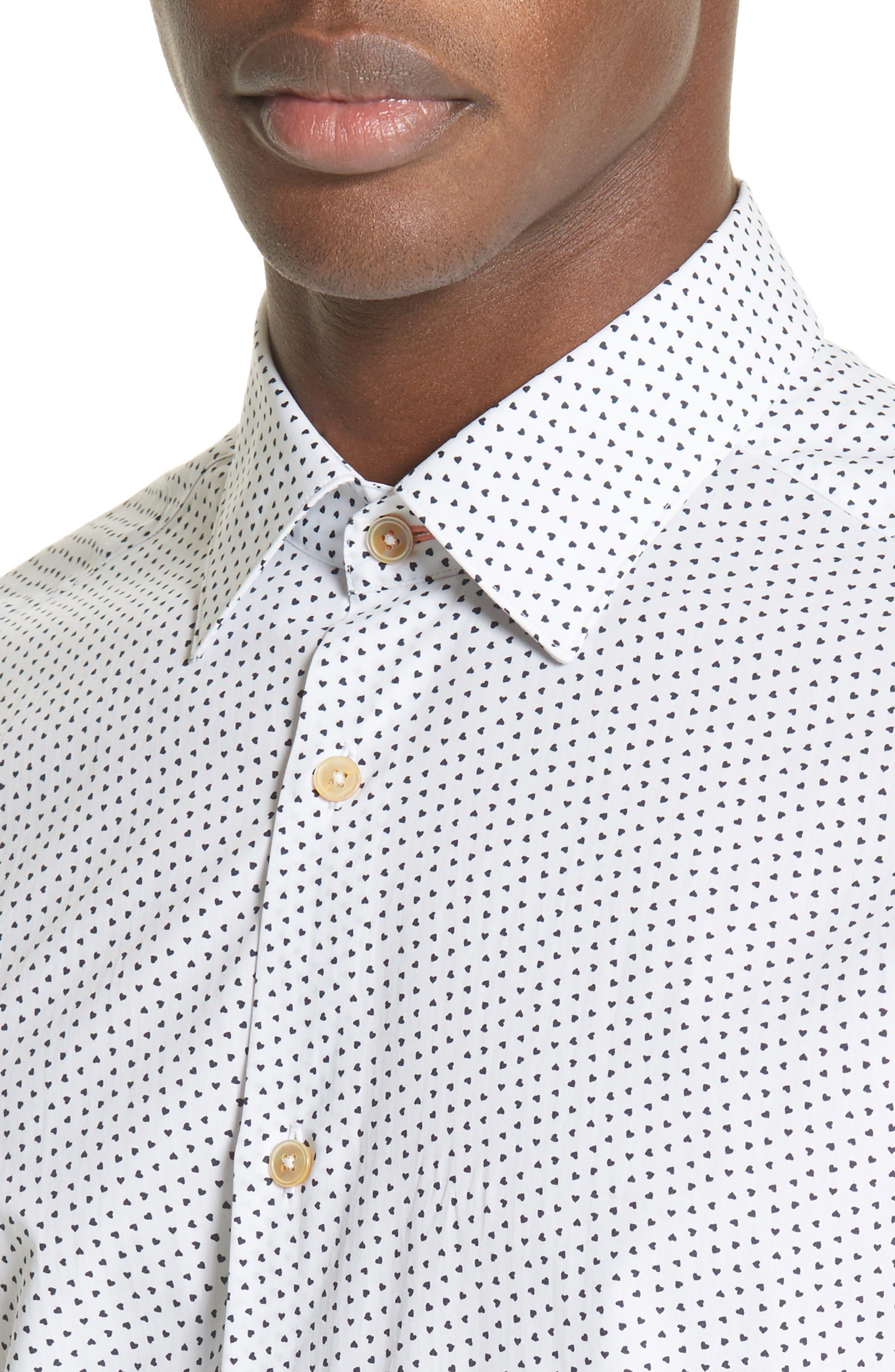 Heart Print Sport Shirt,                             Alternate thumbnail 4, color,                             White
