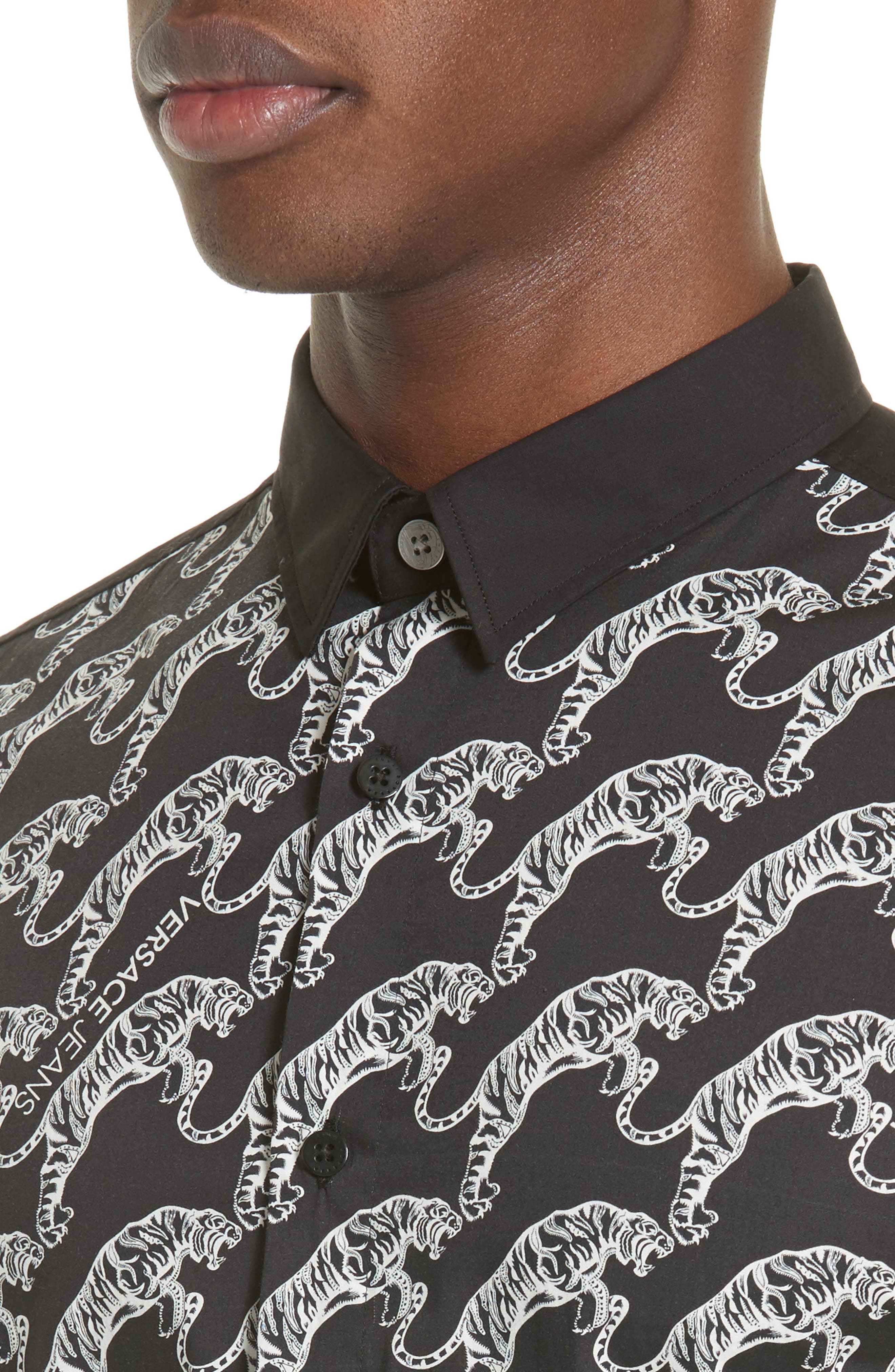 Tiger Print Sport Shirt,                             Alternate thumbnail 4, color,                             Black