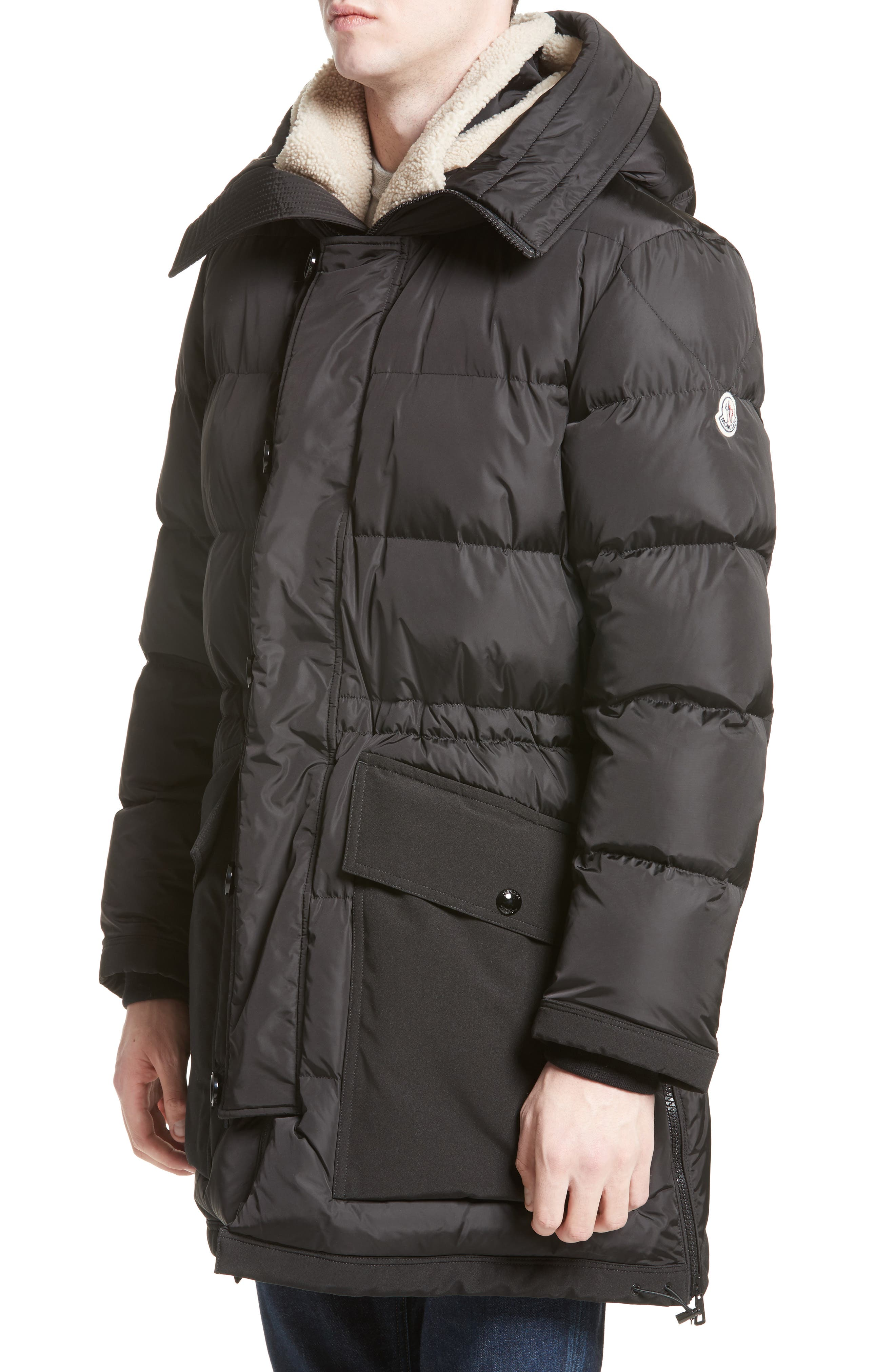 Moncler Loic High Neck Down Coat with Genuine Shearling Trim