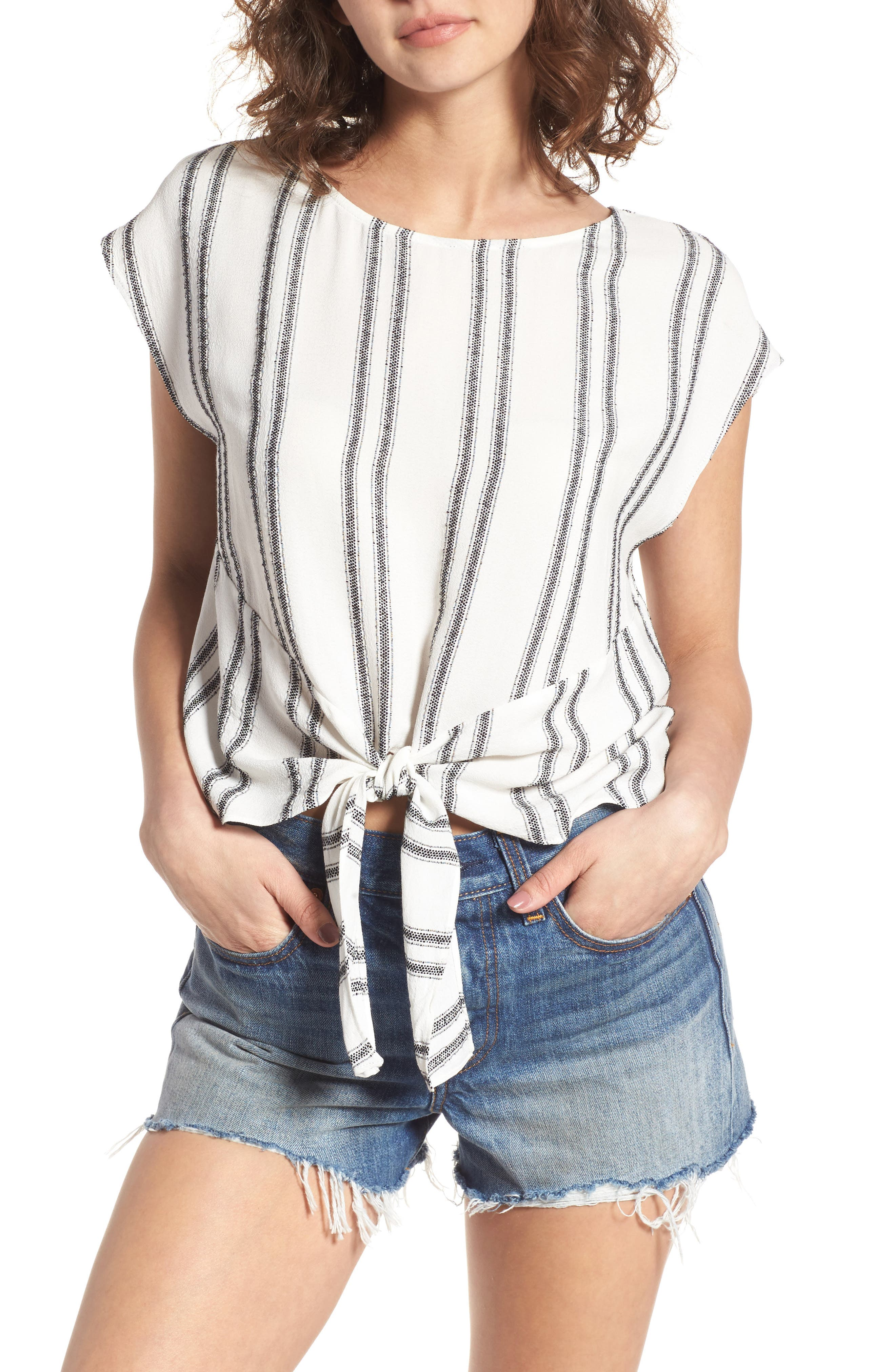 ASTR THE LABEL Angelica Stripe Wrap Front Top