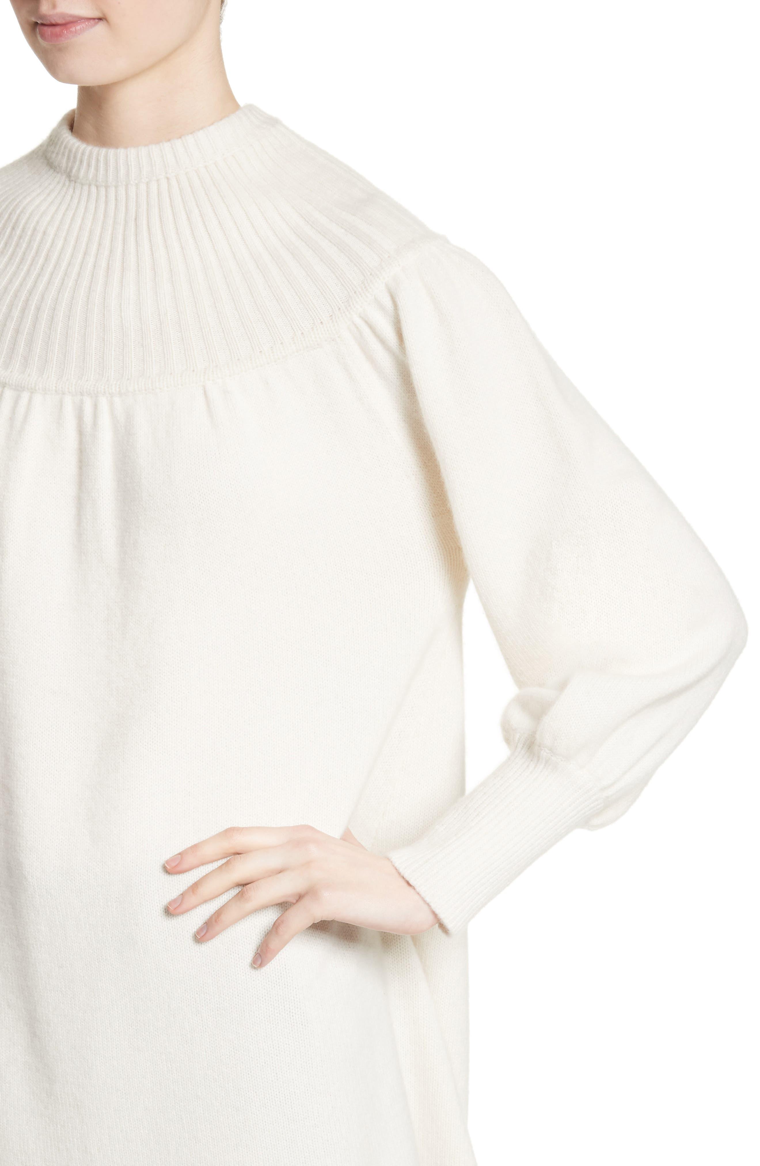 Rib Knit Cashmere Tunic Sweater,                             Alternate thumbnail 6, color,                             Ivory