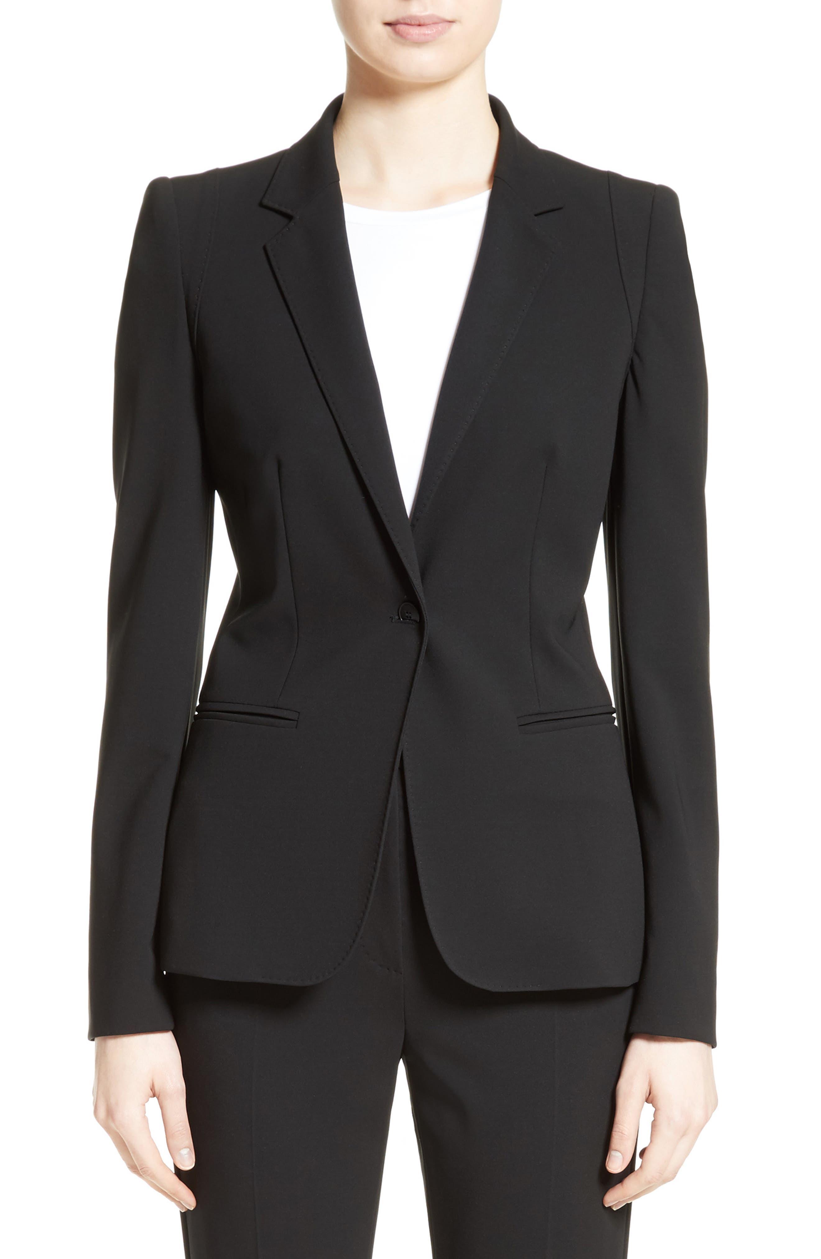 Bari Stretch Jersey Jacket,                             Main thumbnail 1, color,                             Black