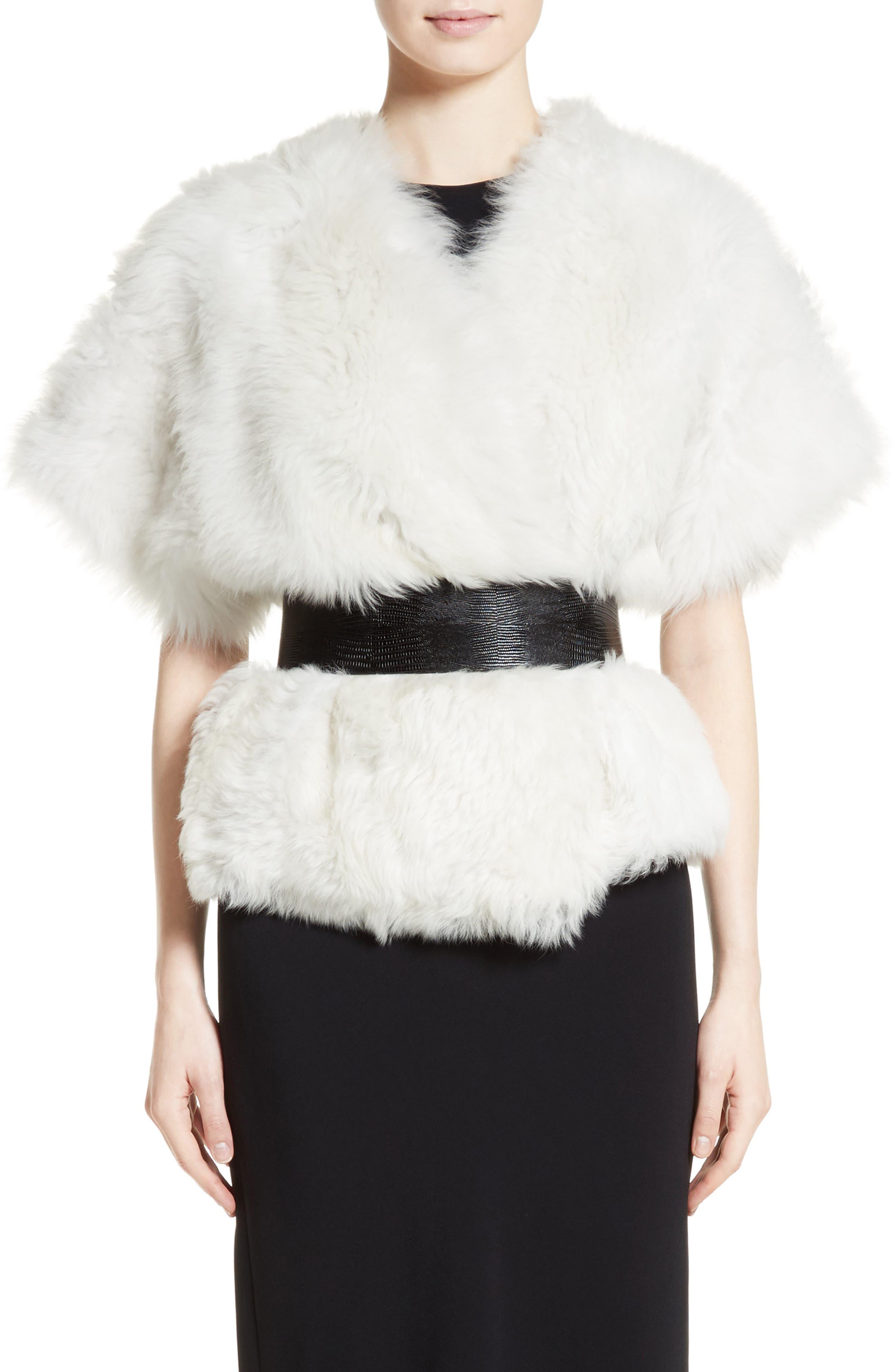 Fiorigi Genuine Lamb Fur Bolero,                         Main,                         color, White