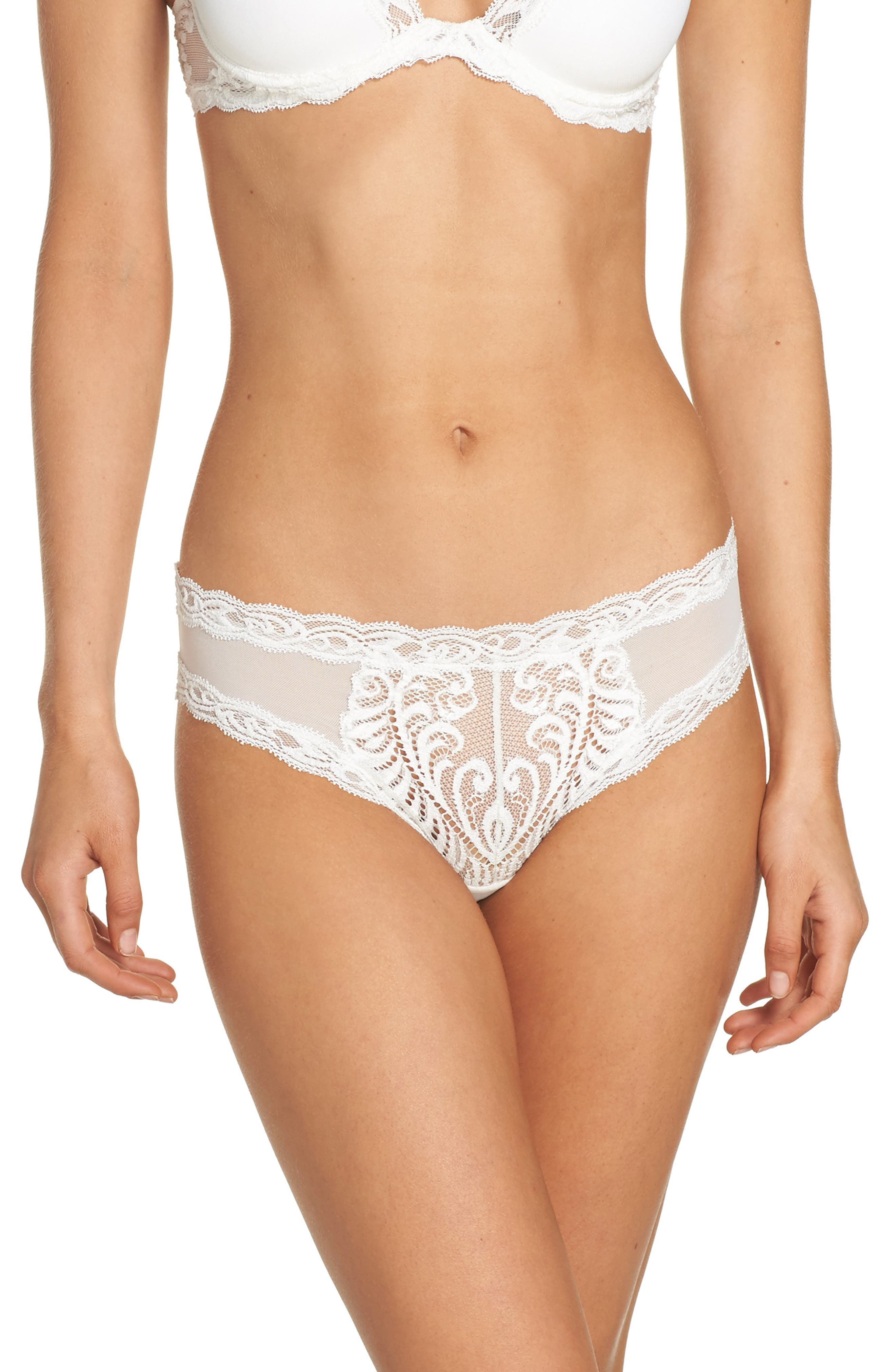 Feathers Hipster Briefs,                             Main thumbnail 1, color,                             Warm White