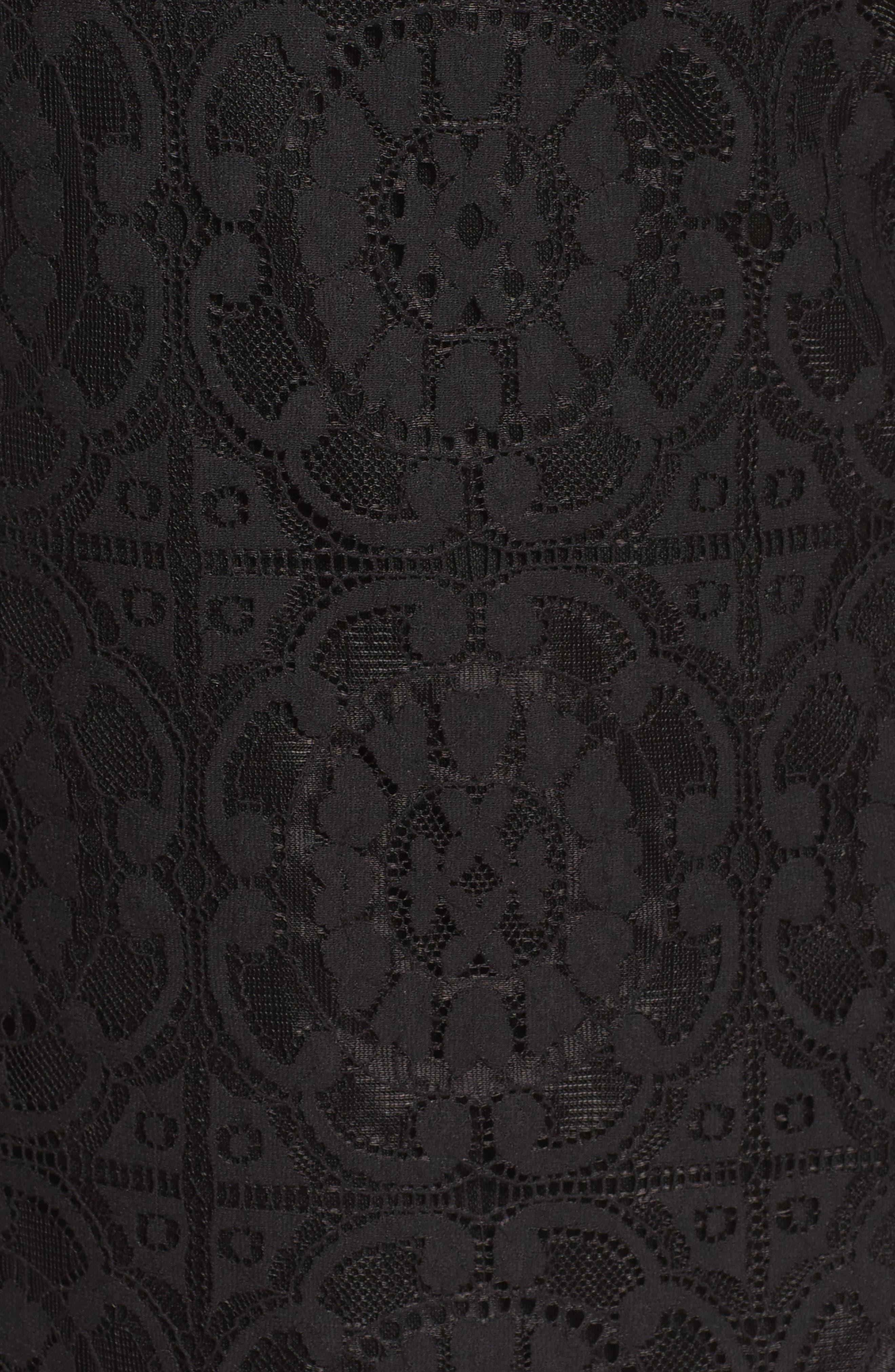 Lace A-Line Dress,                             Alternate thumbnail 5, color,                             Black