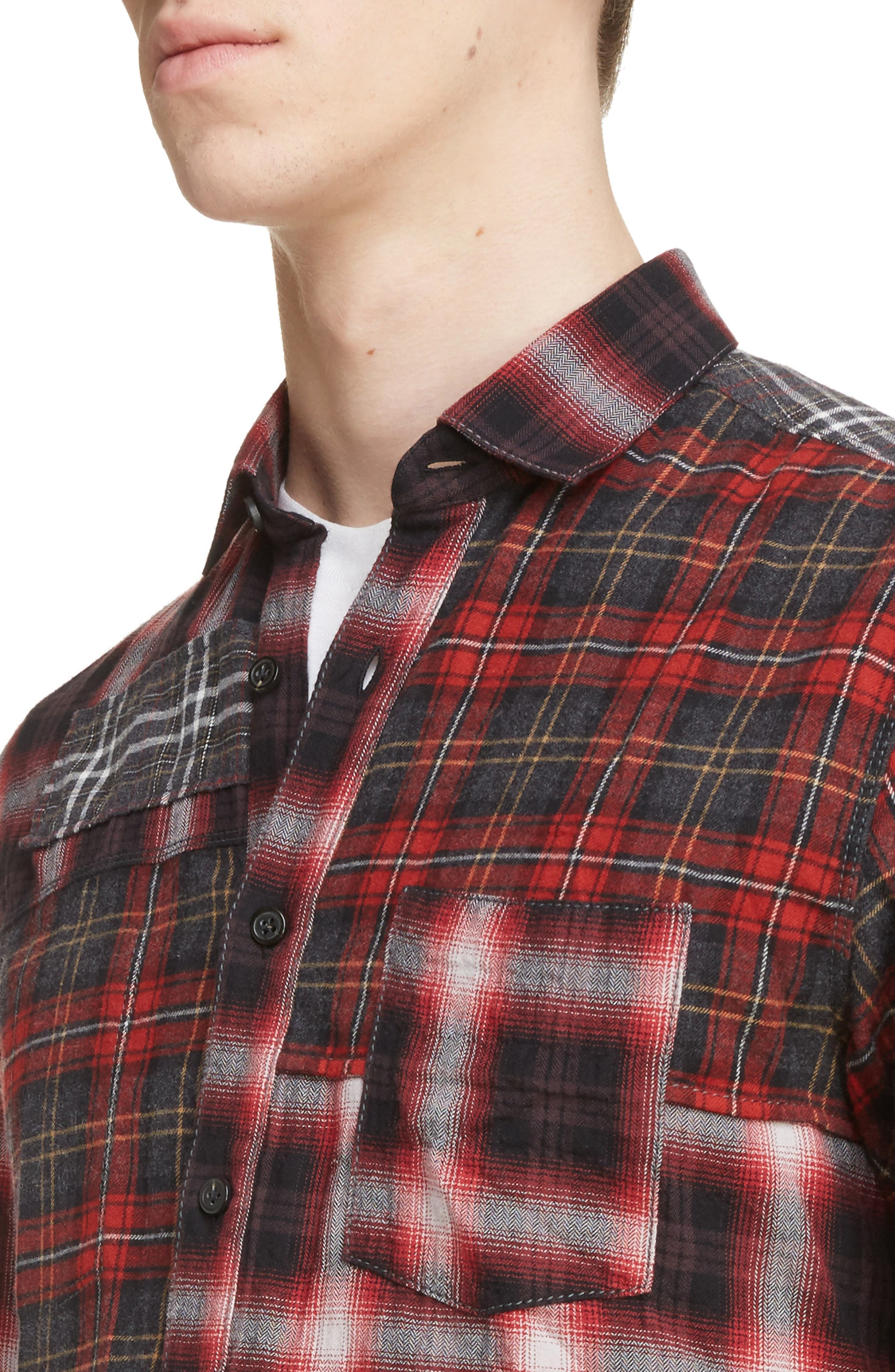 Pieced Plaid Flannel Shirt,                             Alternate thumbnail 4, color,                             Grey/ Red