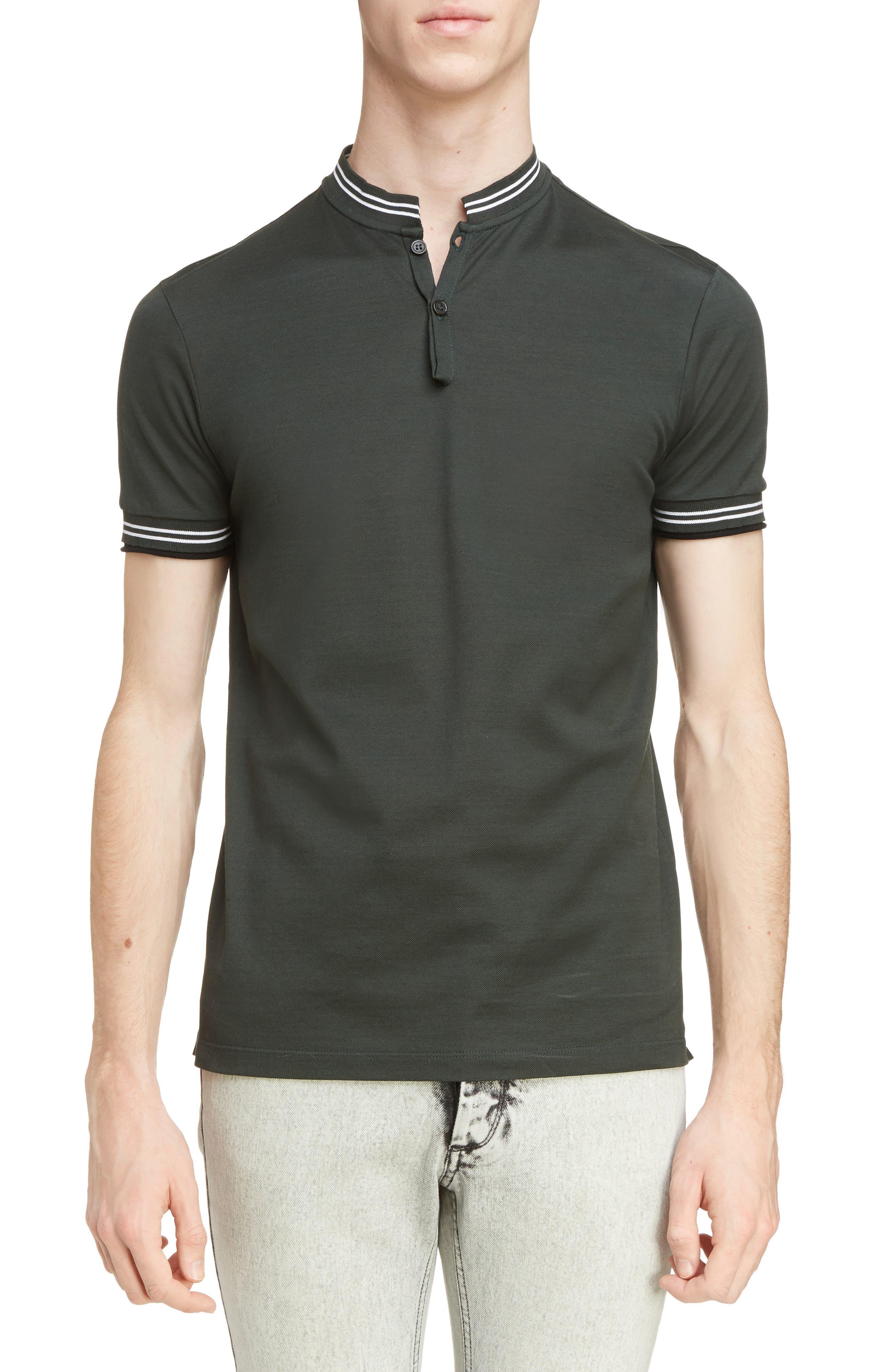 Lanvin Stripe Stand Collar Polo