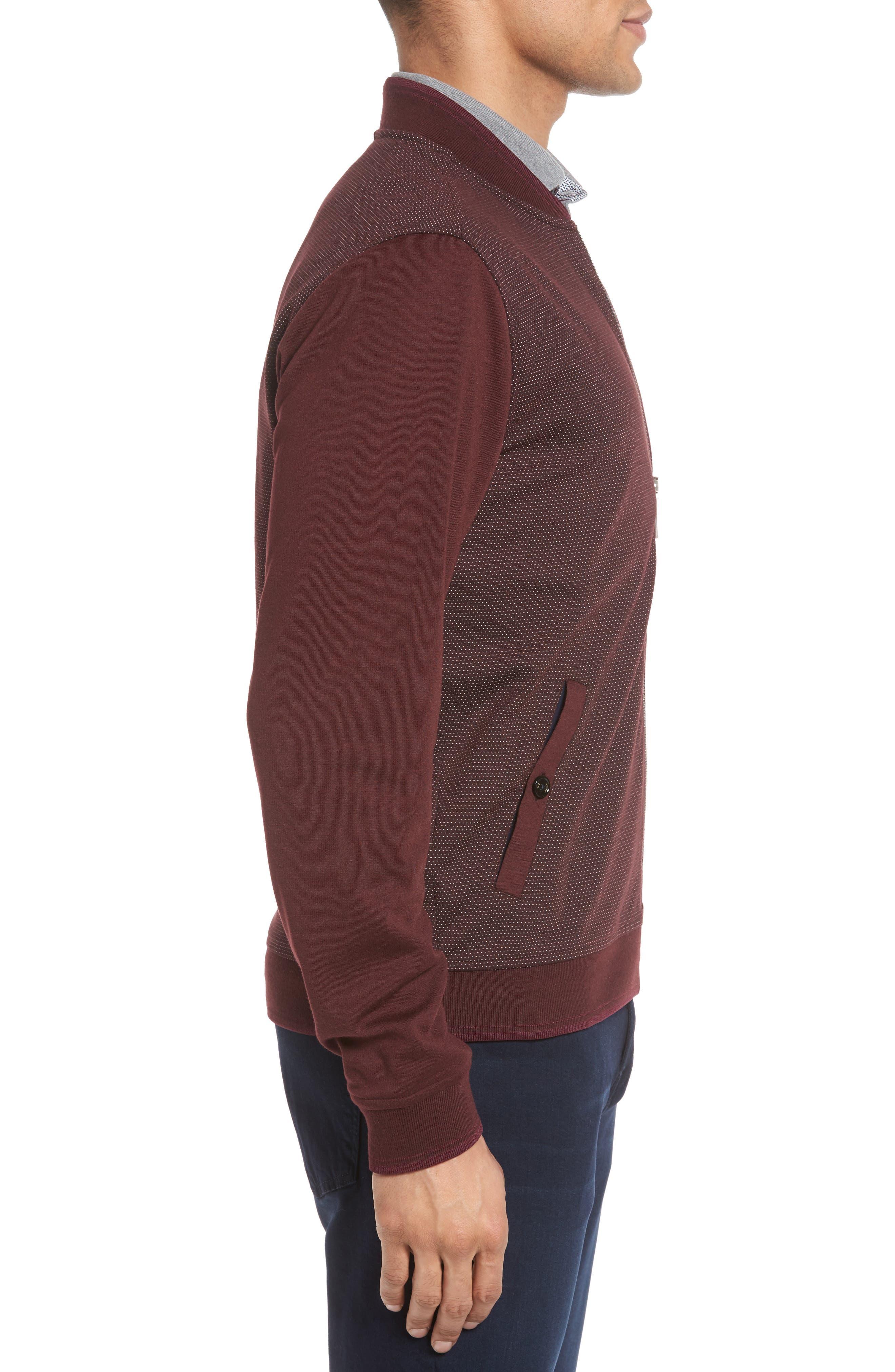 Badford Baseball Jacket,                             Alternate thumbnail 3, color,                             Dark Red