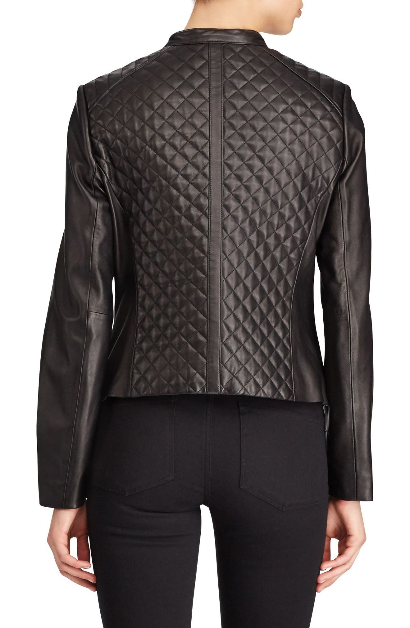 Quilted Detail Lambskin Leather Jacket,                             Alternate thumbnail 3, color,                             Black