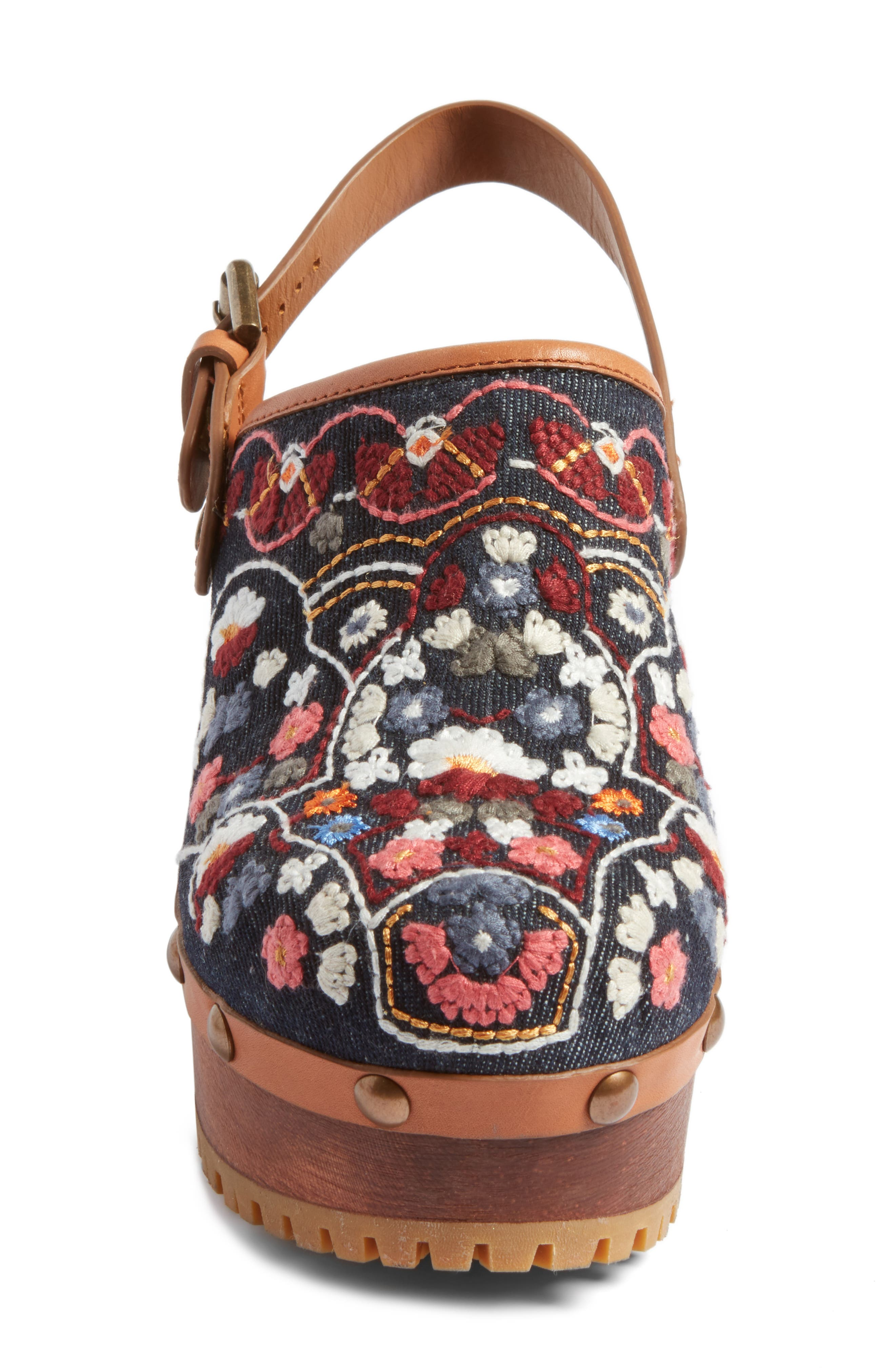 Tasha Embroidered Clog,                             Alternate thumbnail 4, color,                             Denim/ Multi
