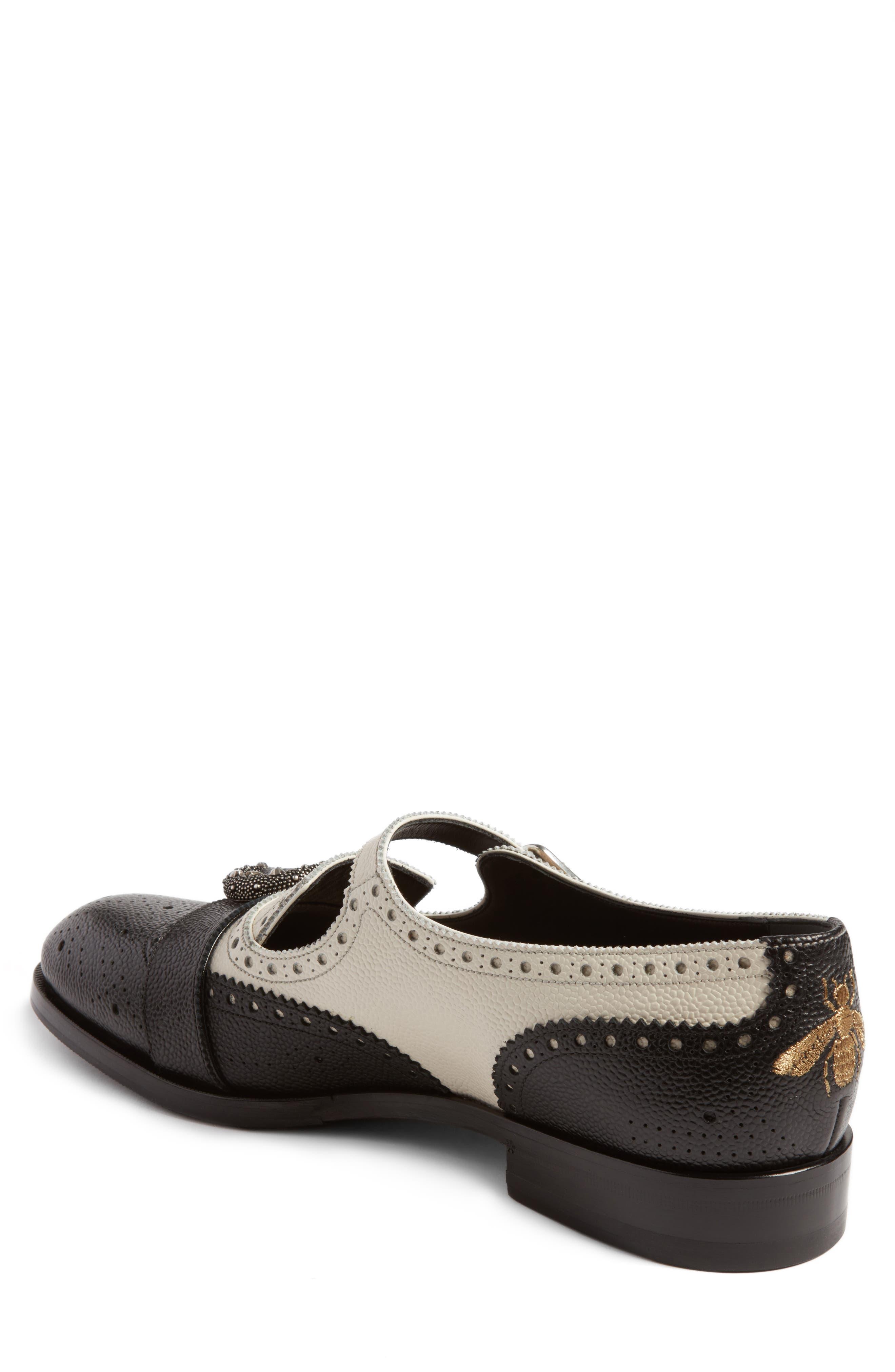 Queercore Brogue Monk Shoe,                             Alternate thumbnail 2, color,                             Black White Multi