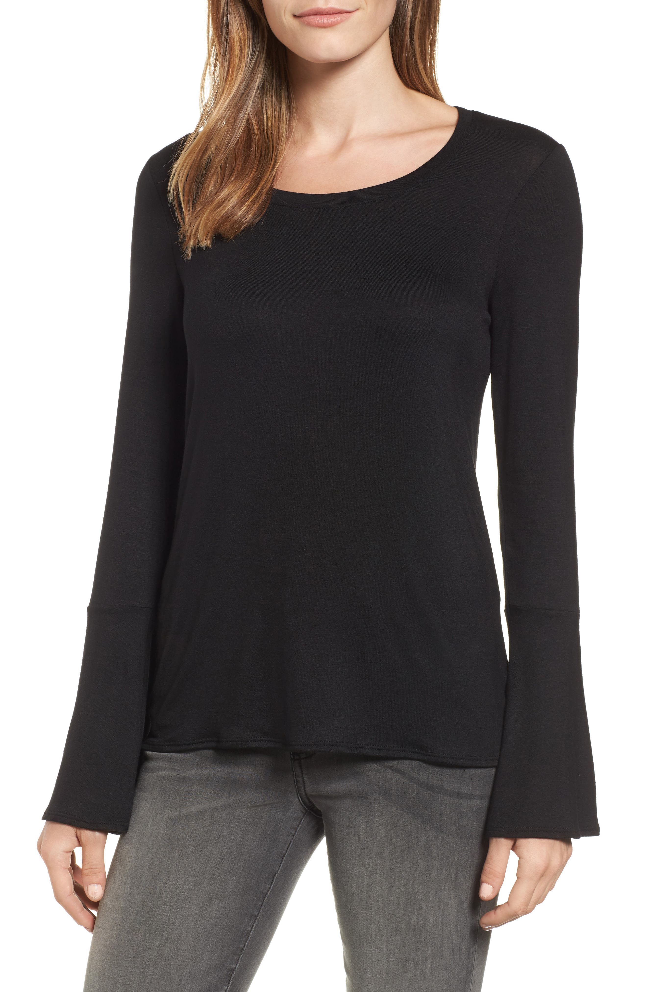 Bell Sleeve Tee,                         Main,                         color, Black