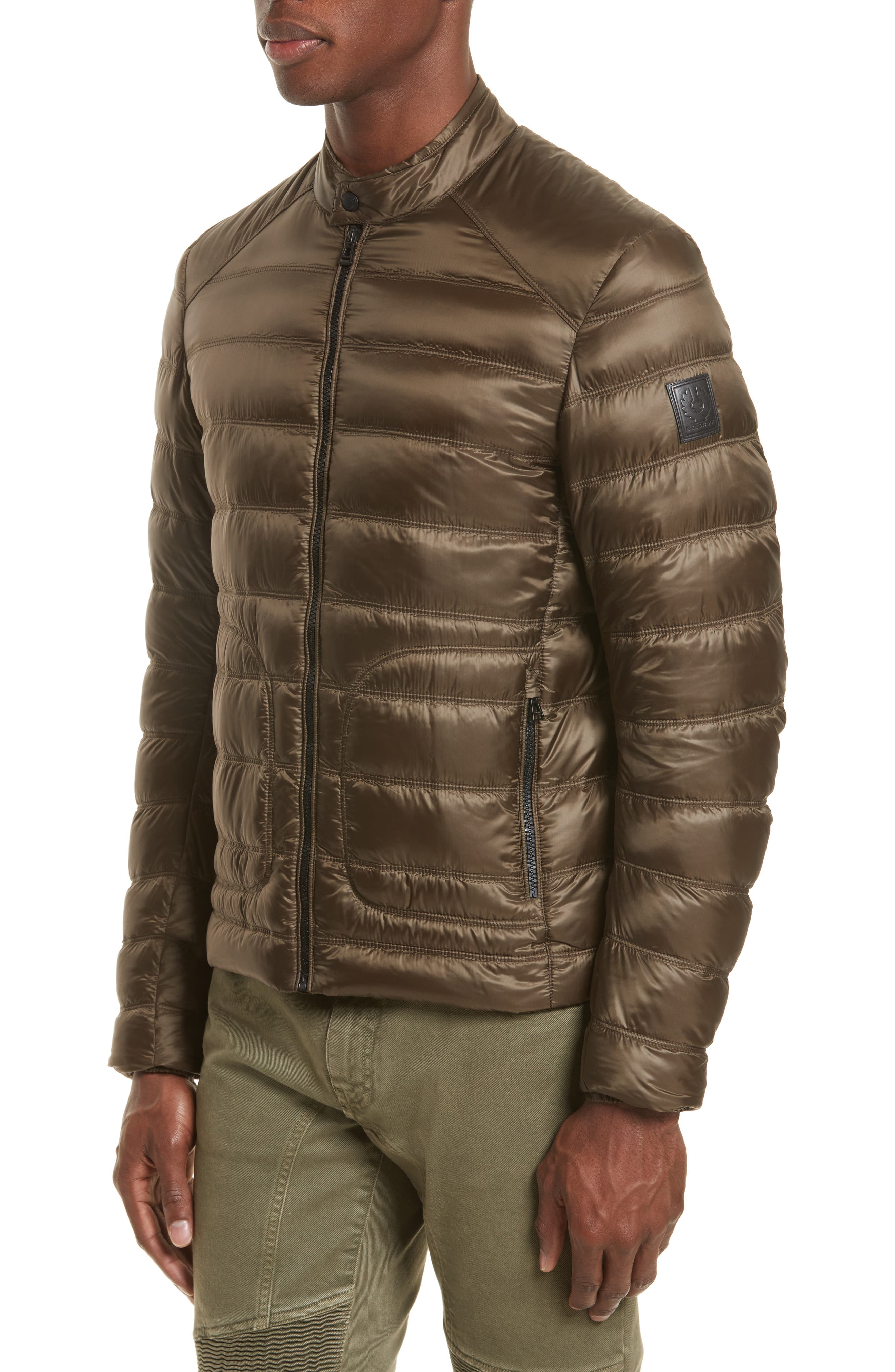 Halewood Quilted Down Jacket,                             Alternate thumbnail 4, color,                             Dark Moss Green