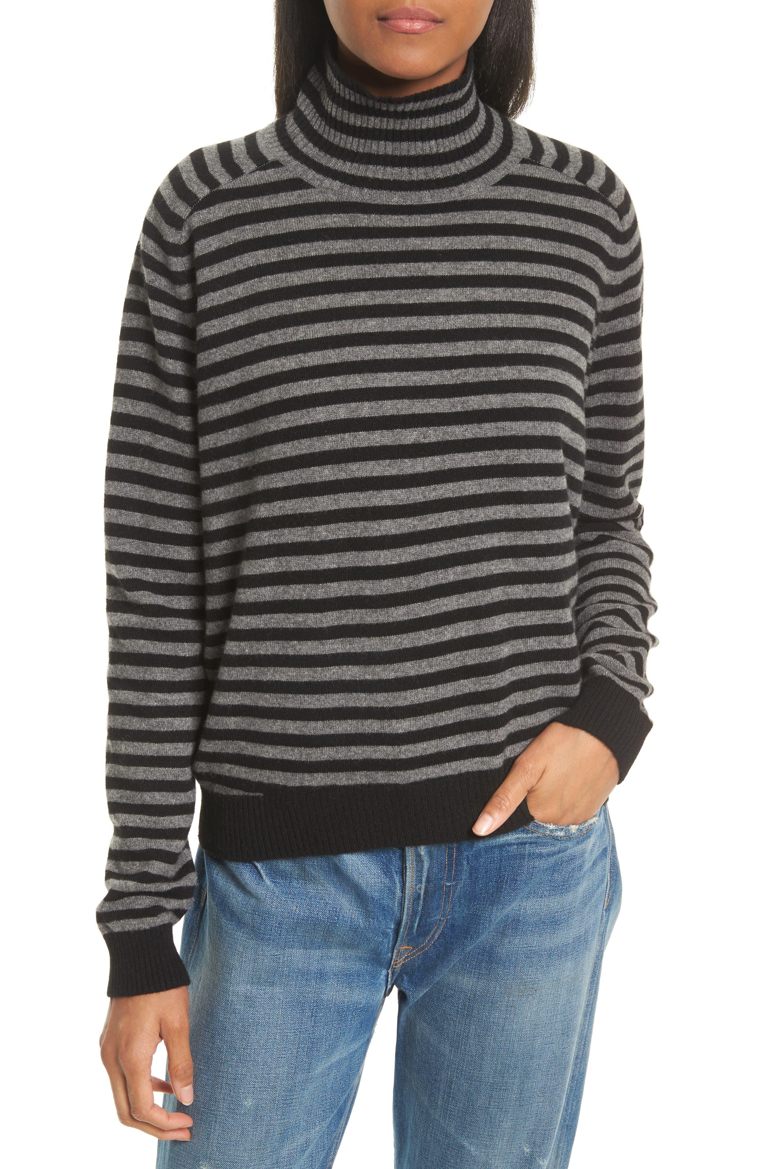 Breton Stripe Cashmere Sweater,                         Main,                         color, Black/ H. Stone