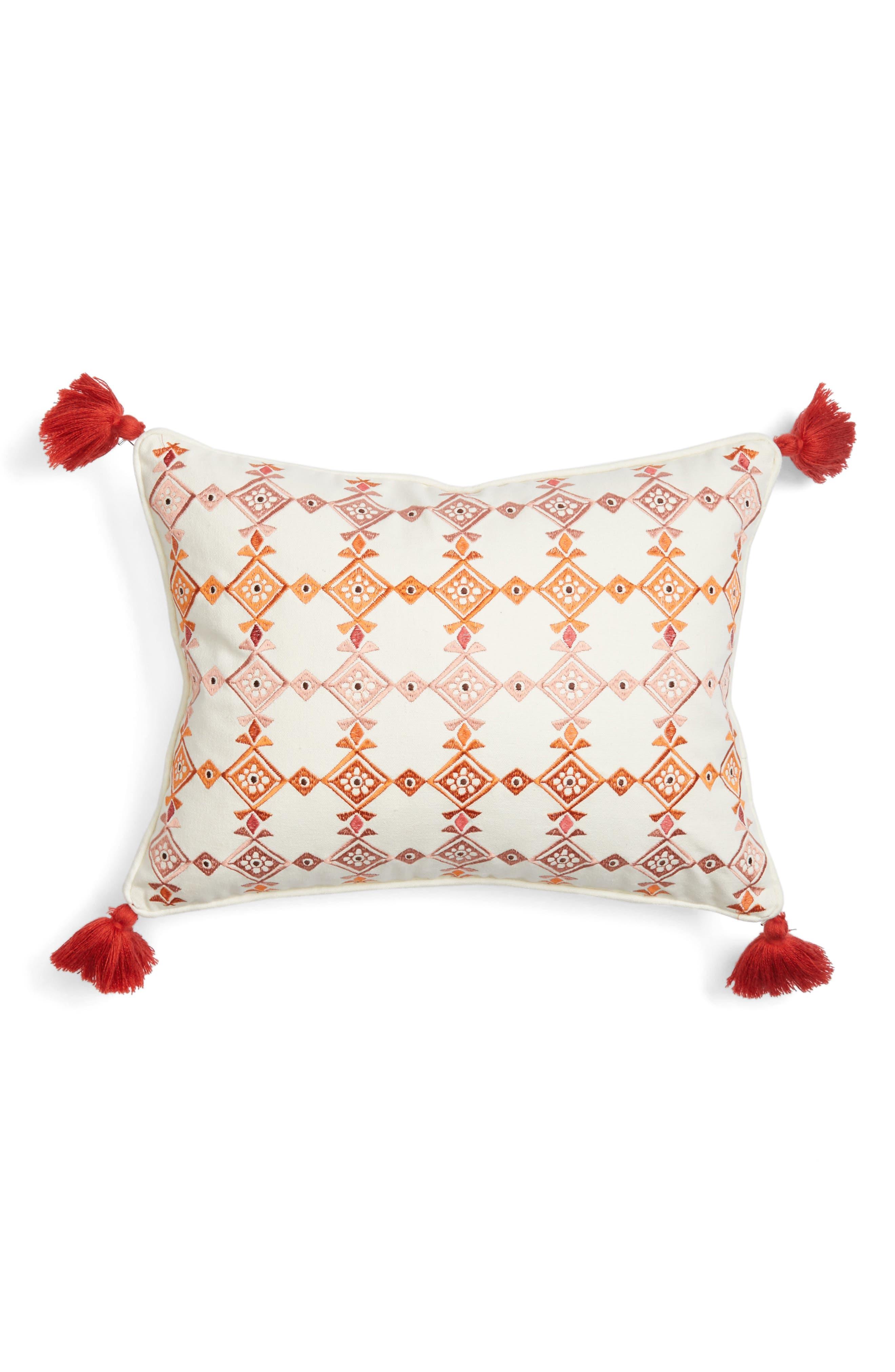 Piper Tassel Pillow,                             Main thumbnail 1, color,                             Red/ Multi