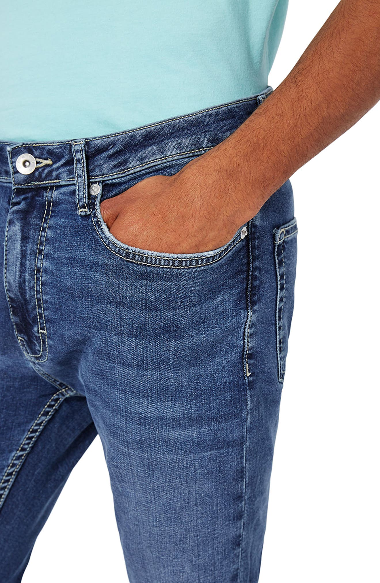 Spray-On Skinny Fit Jeans,                             Alternate thumbnail 4, color,                             Blue