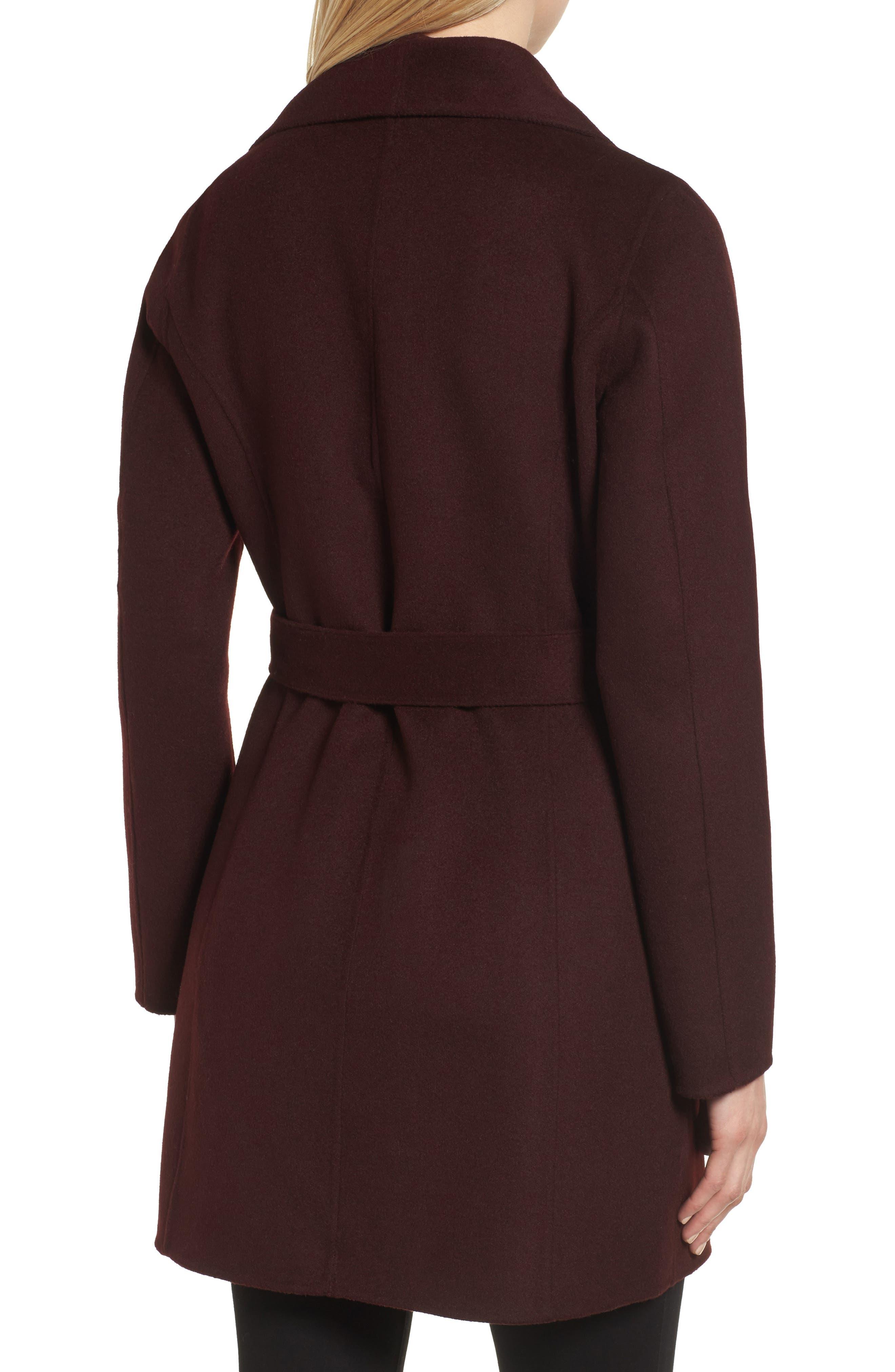 Alternate Image 2  - Tahari 'Ella' Belted Double Face Wool Blend Wrap Coat (Regular & Petite)