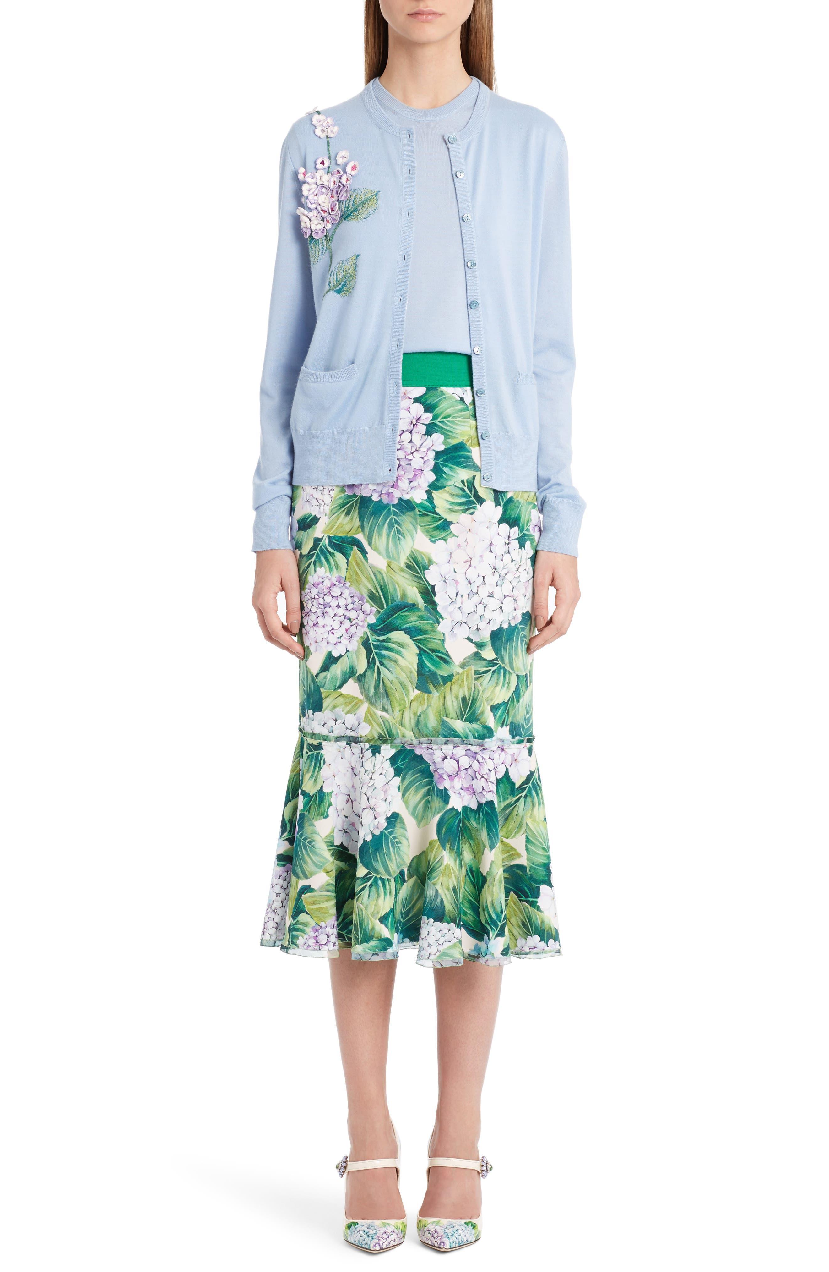 Alternate Image 7  - Dolce&Gabbana Hydrangea Print Ruffle Hem Skirt
