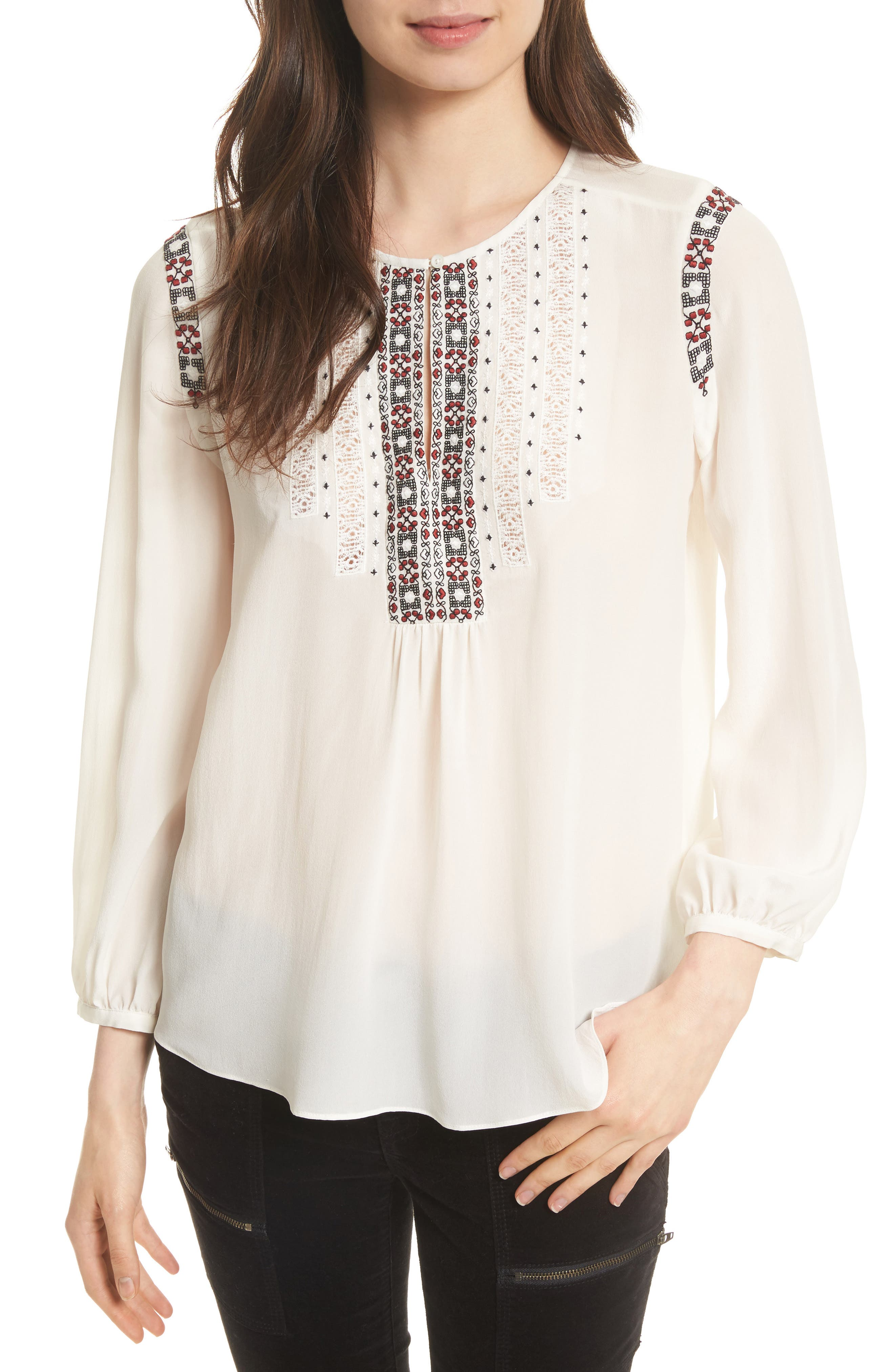 Clema Embroidered Bib Silk Top,                         Main,                         color, Porcelain