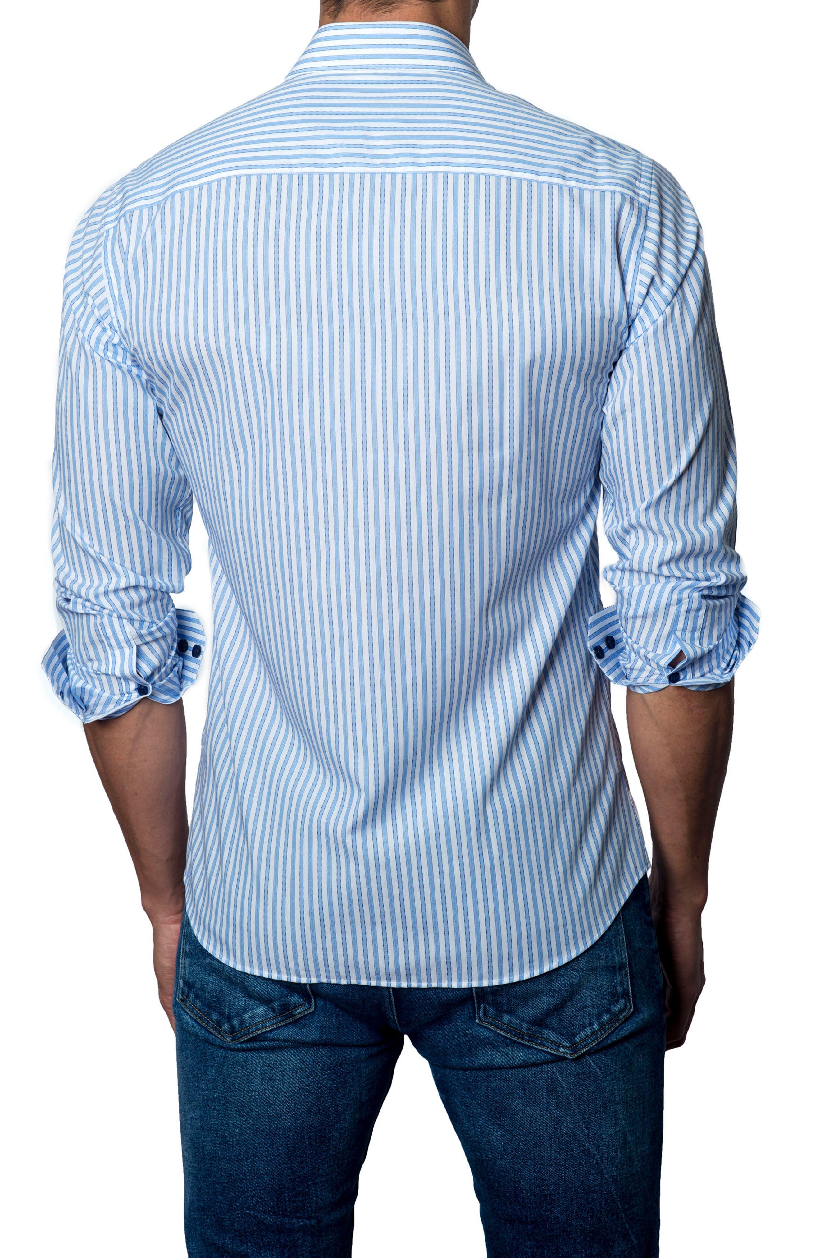 Trim Fit Stripe Sport Shirt,                             Alternate thumbnail 2, color,                             Light Blue / White Stripe