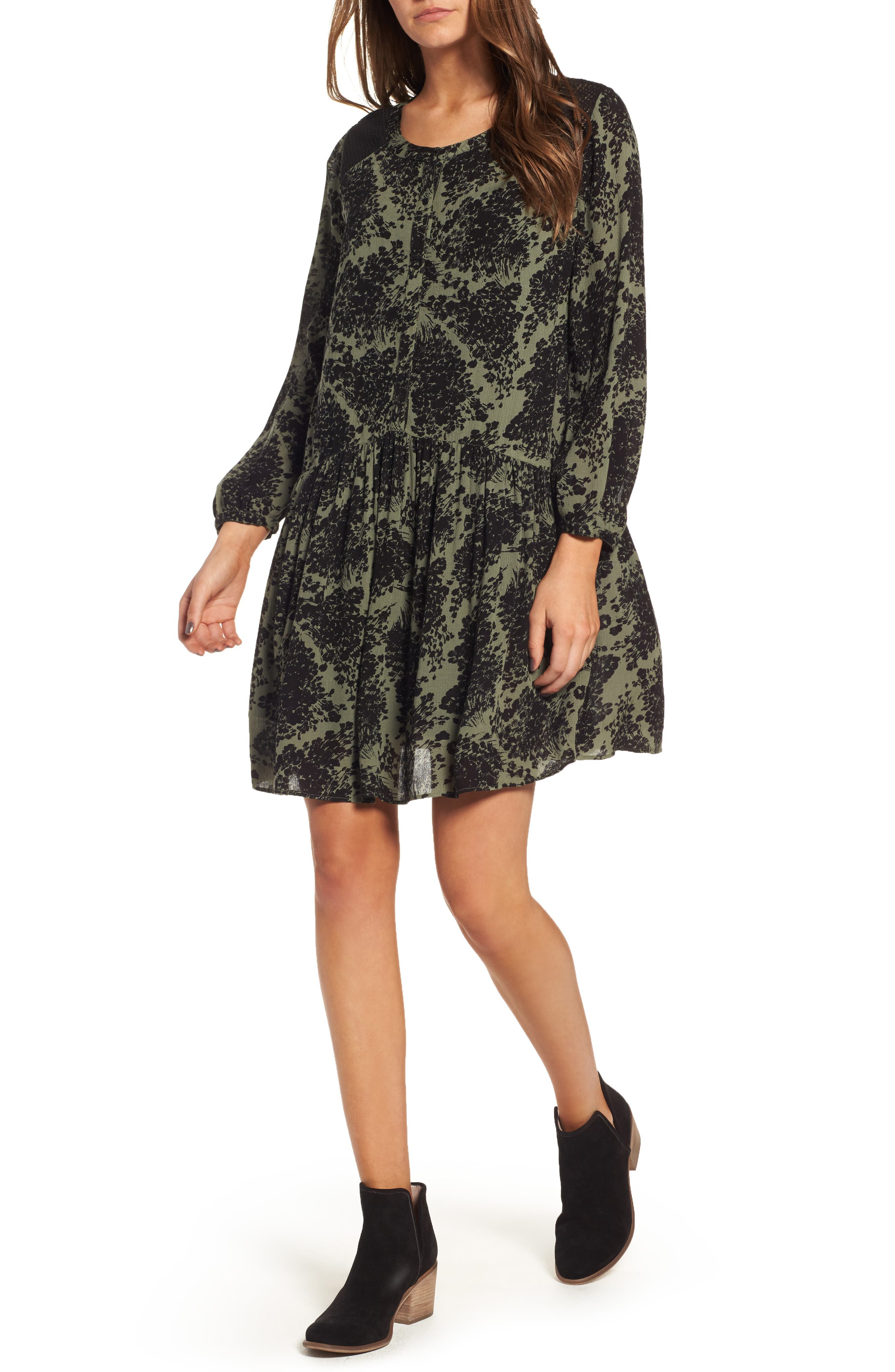 Button Front Dress,                         Main,                         color, Olive Grove Whirlwind Floral