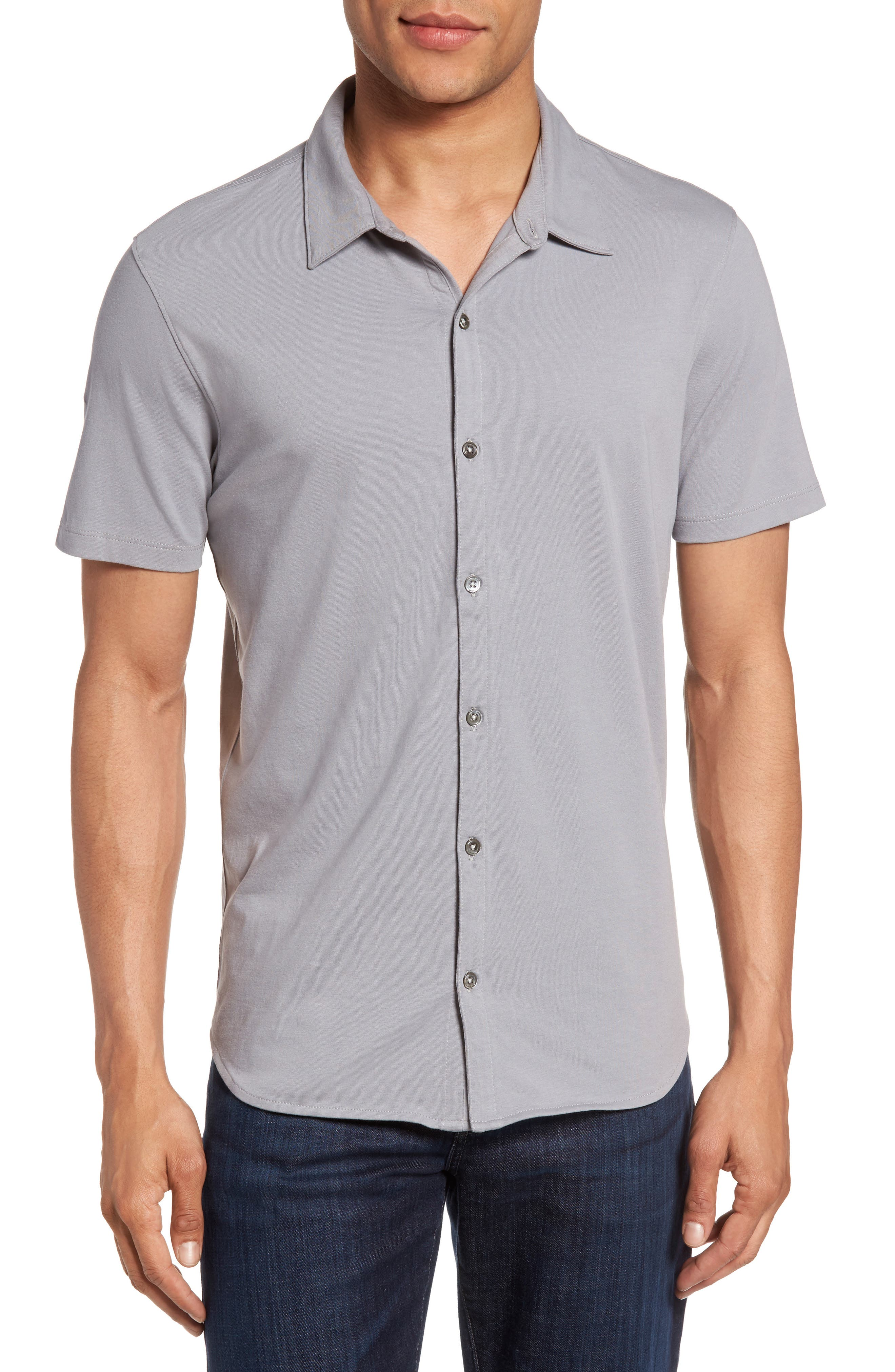 Knit Short Sleeve Sport Shirt,                         Main,                         color, Pewter