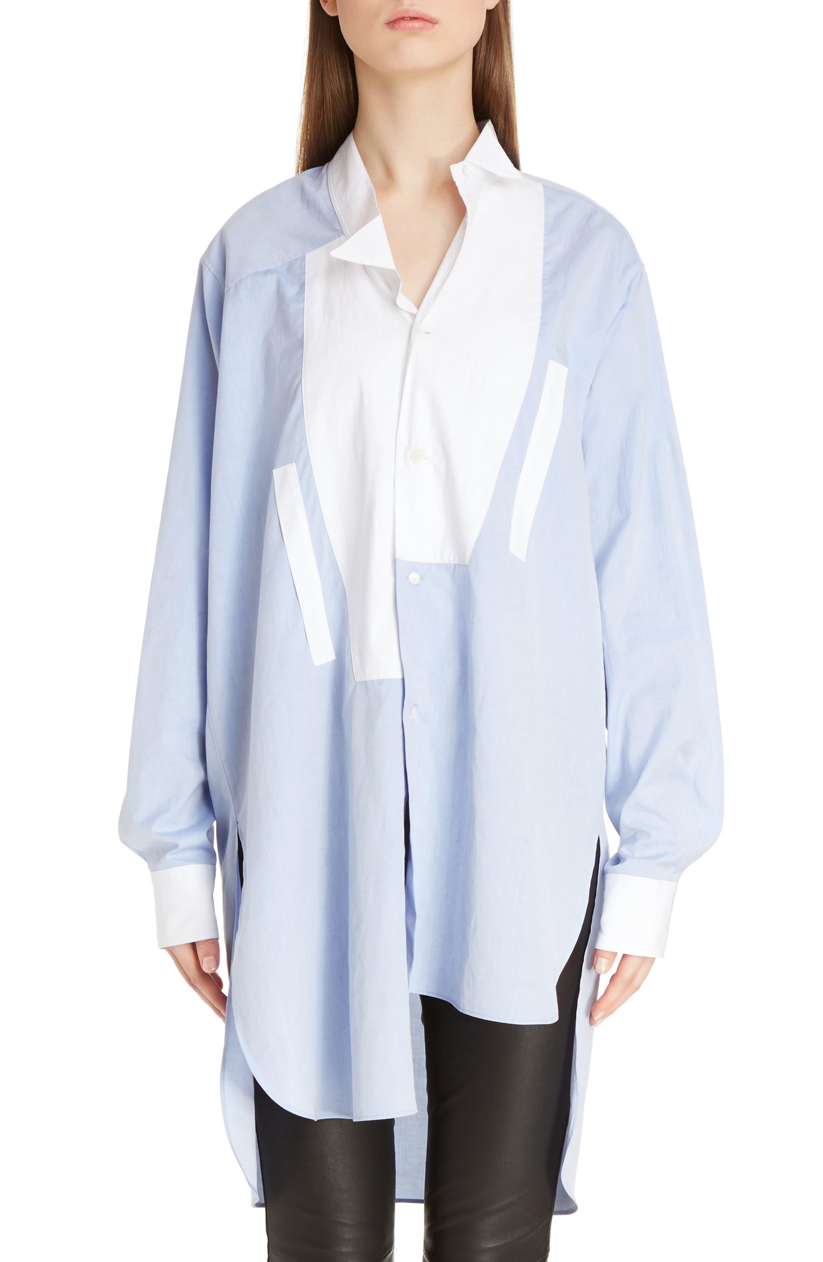 Asymmetrical Patchwork Cotton Top,                         Main,                         color, Baby Blue/ White