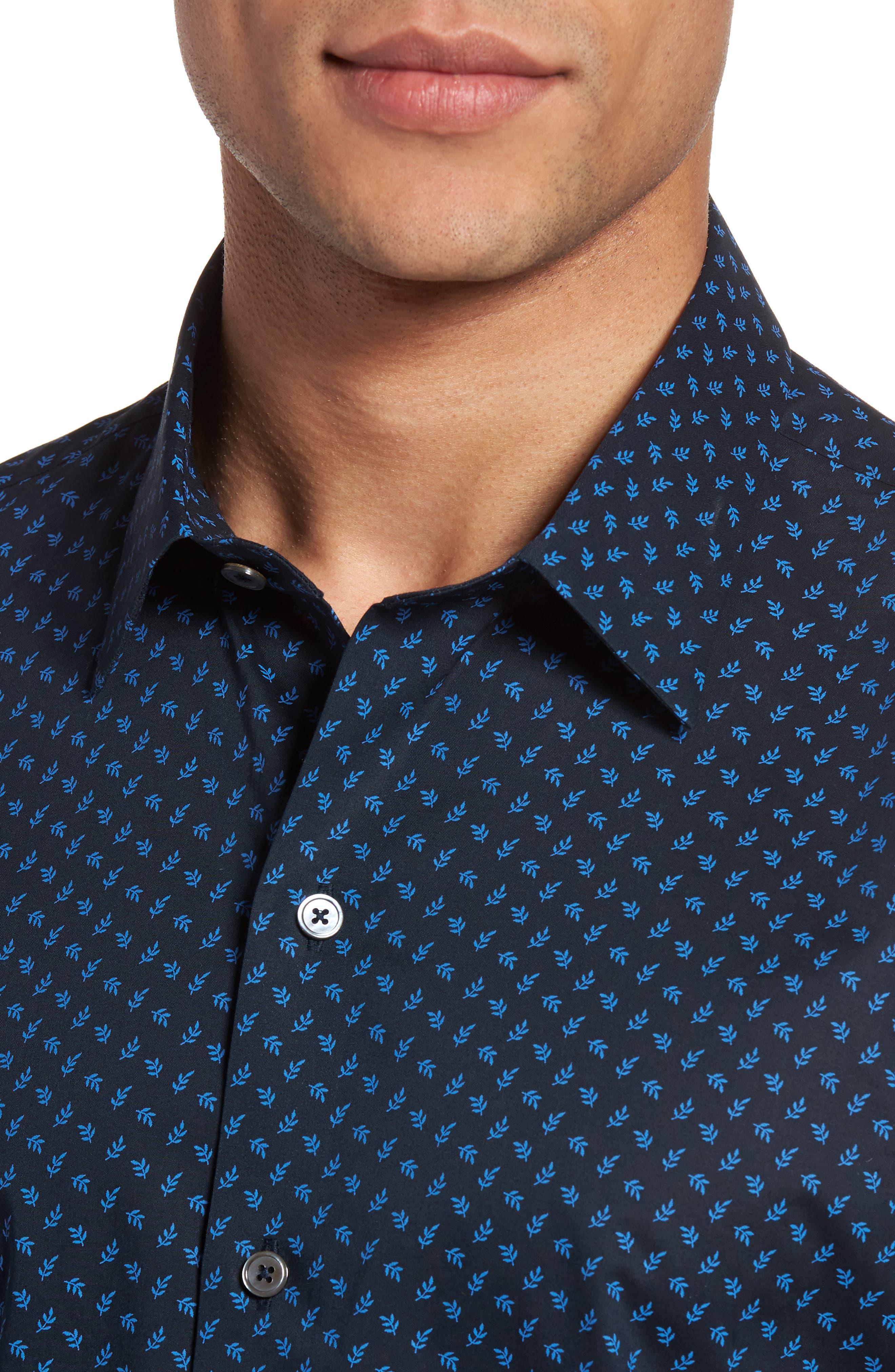 Print Short Sleeve Sport Shirt,                             Alternate thumbnail 4, color,                             Navy
