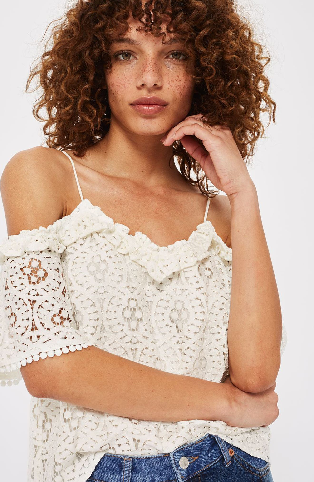 Alternate Image 2  - Topshop Ruffle Lace Off the Shoulder Top