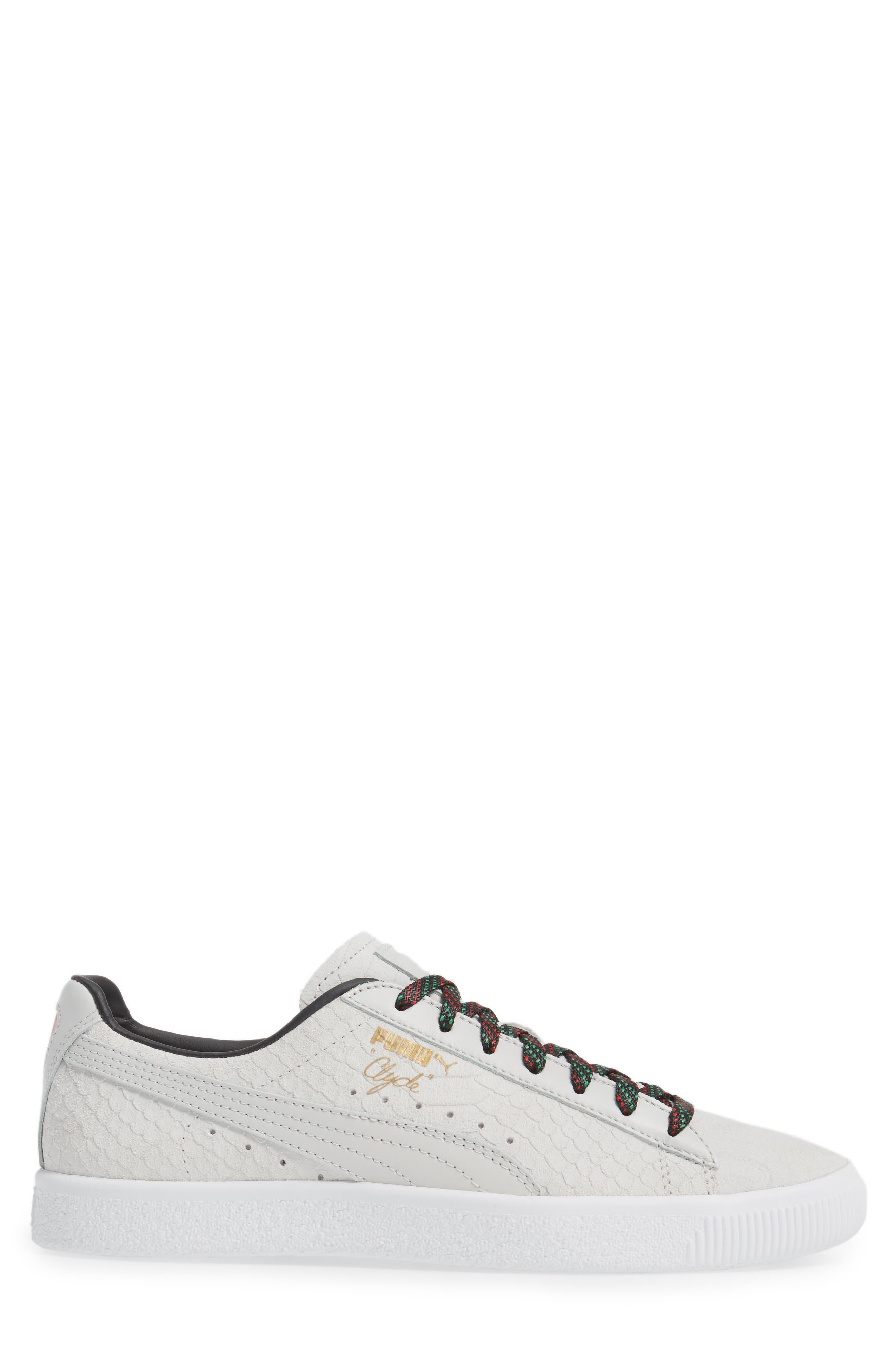 Clyde GCC Sneaker,                             Alternate thumbnail 3, color,                             White/ Puma Black