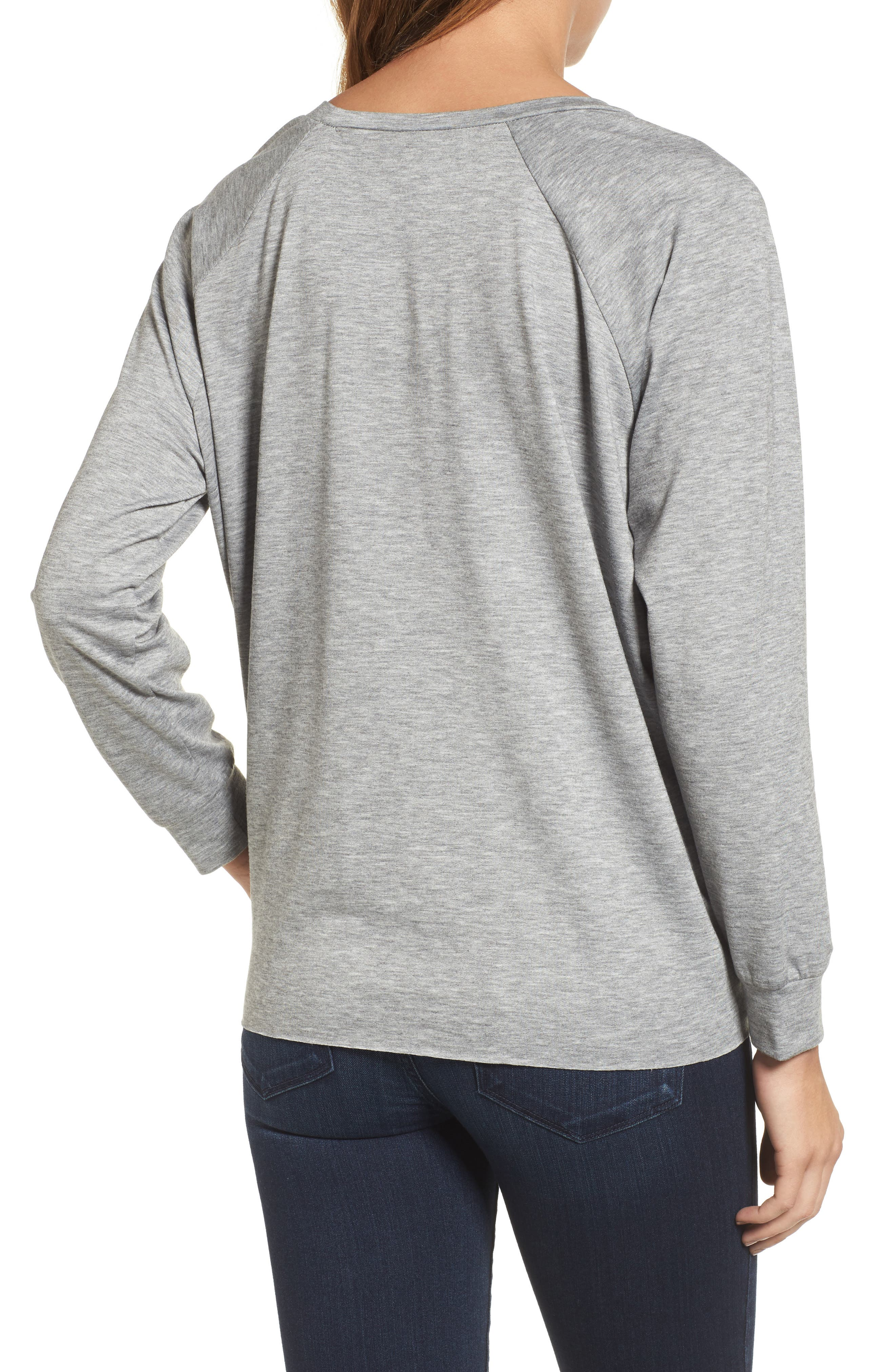 Alternate Image 2  - Caslon® Tie Front Sweatshirt (Regular & Petite)