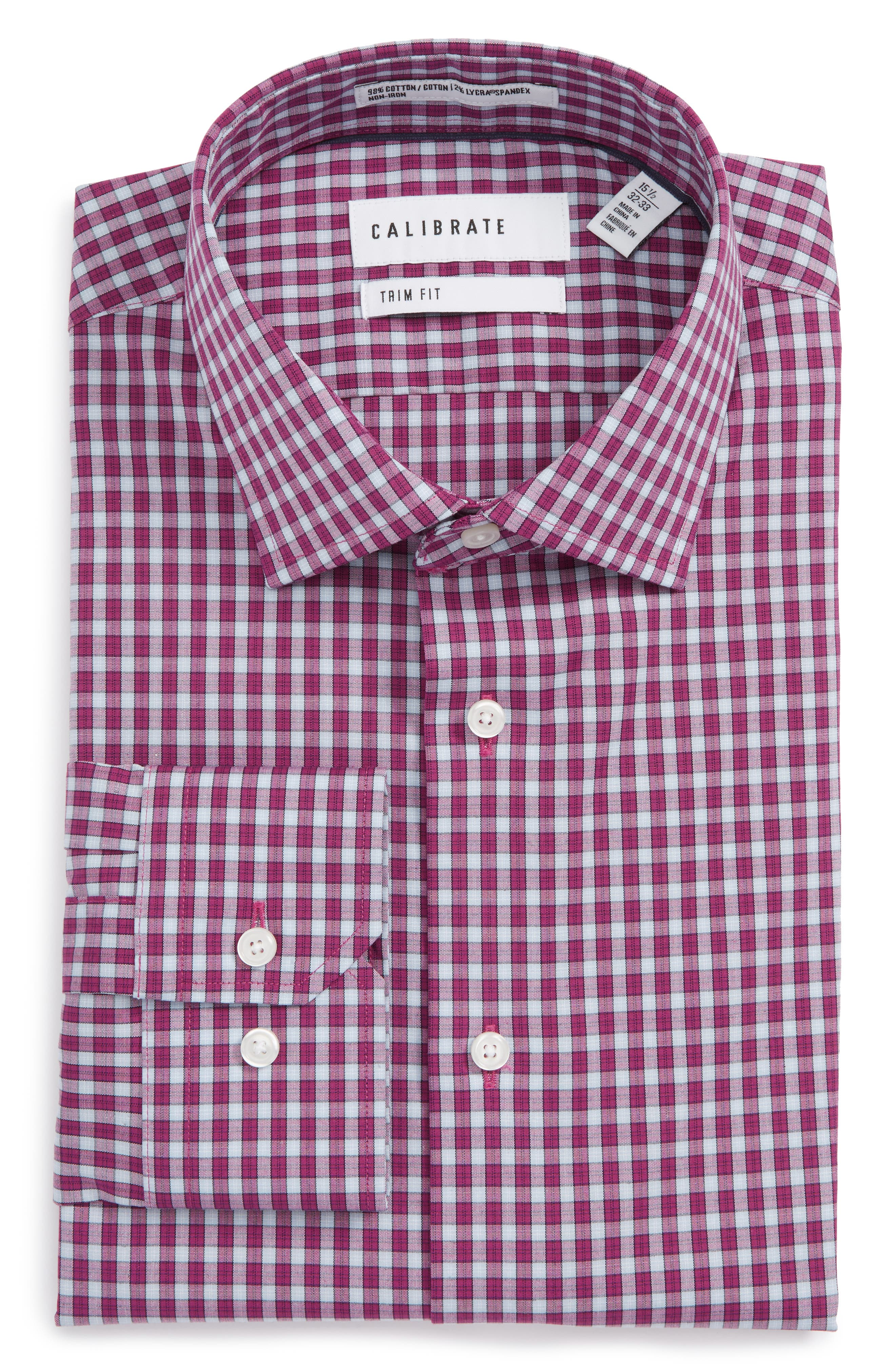 Calibrate Trim Fit Stretch Non-Iron Check Dress Shirt