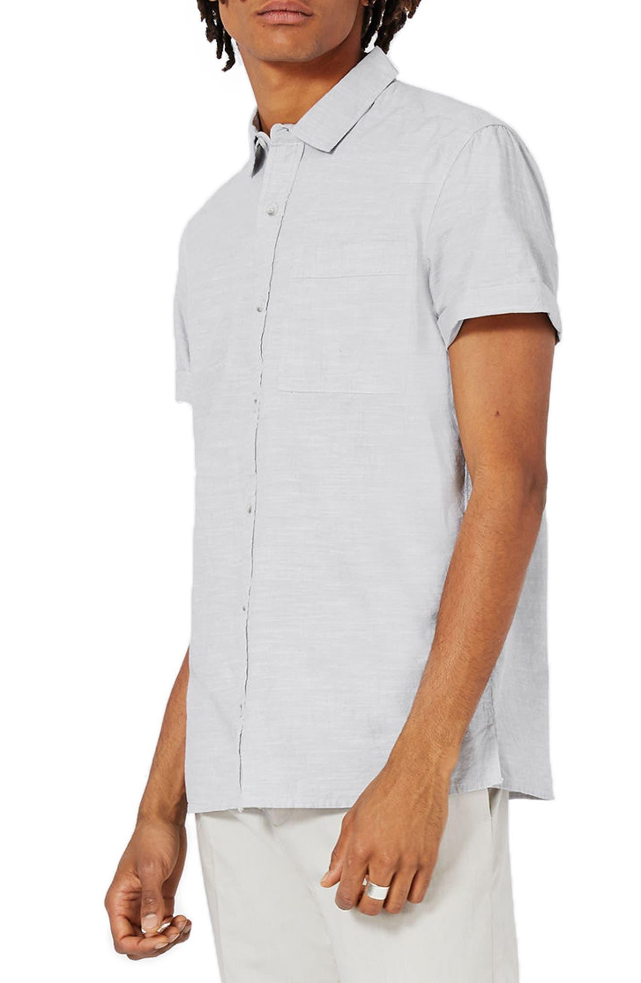 Topman Slub Cotton Shirt
