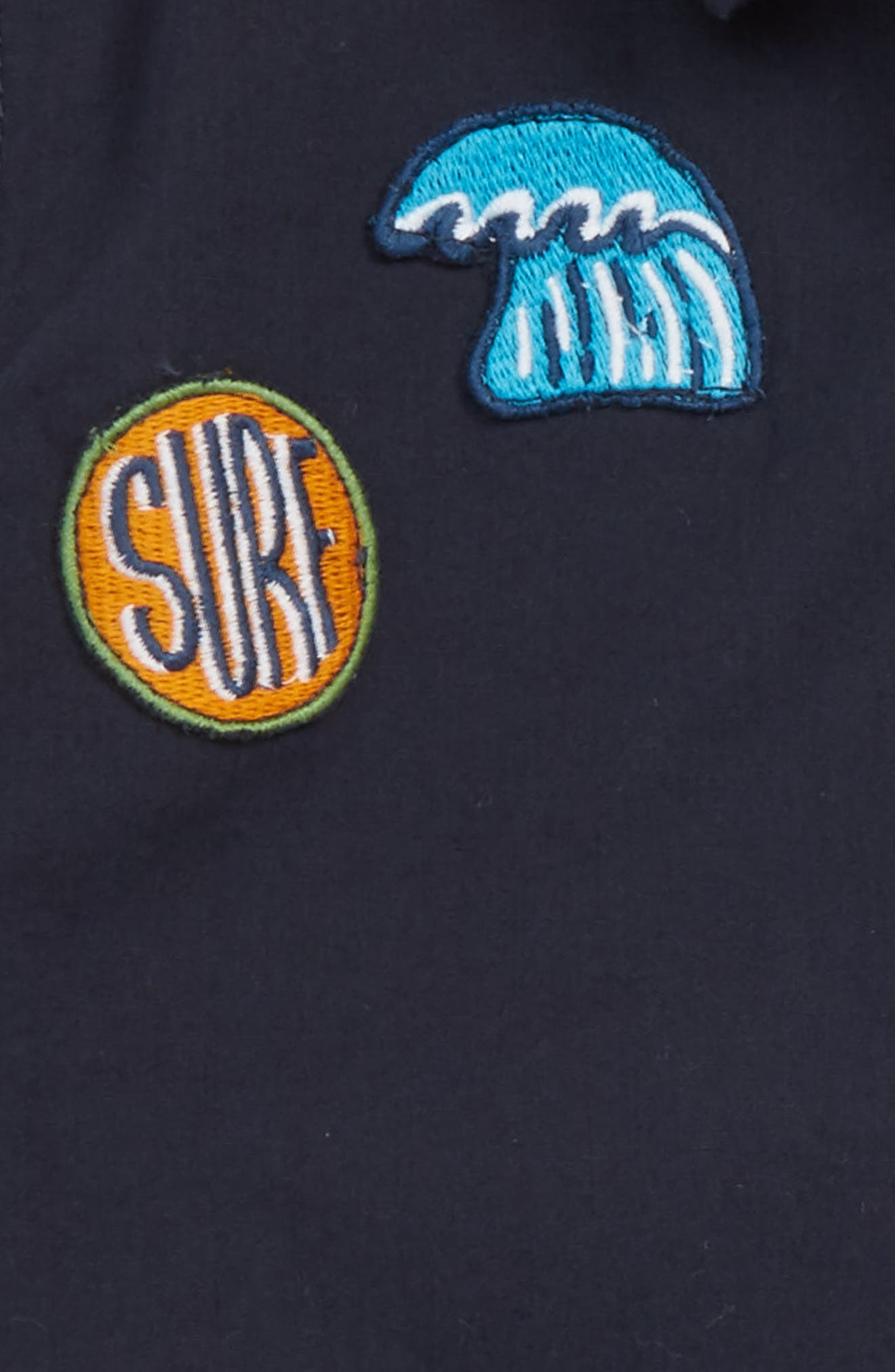 Surf Patch Woven Shirt,                             Alternate thumbnail 2, color,                             Navy Night Surf Badges